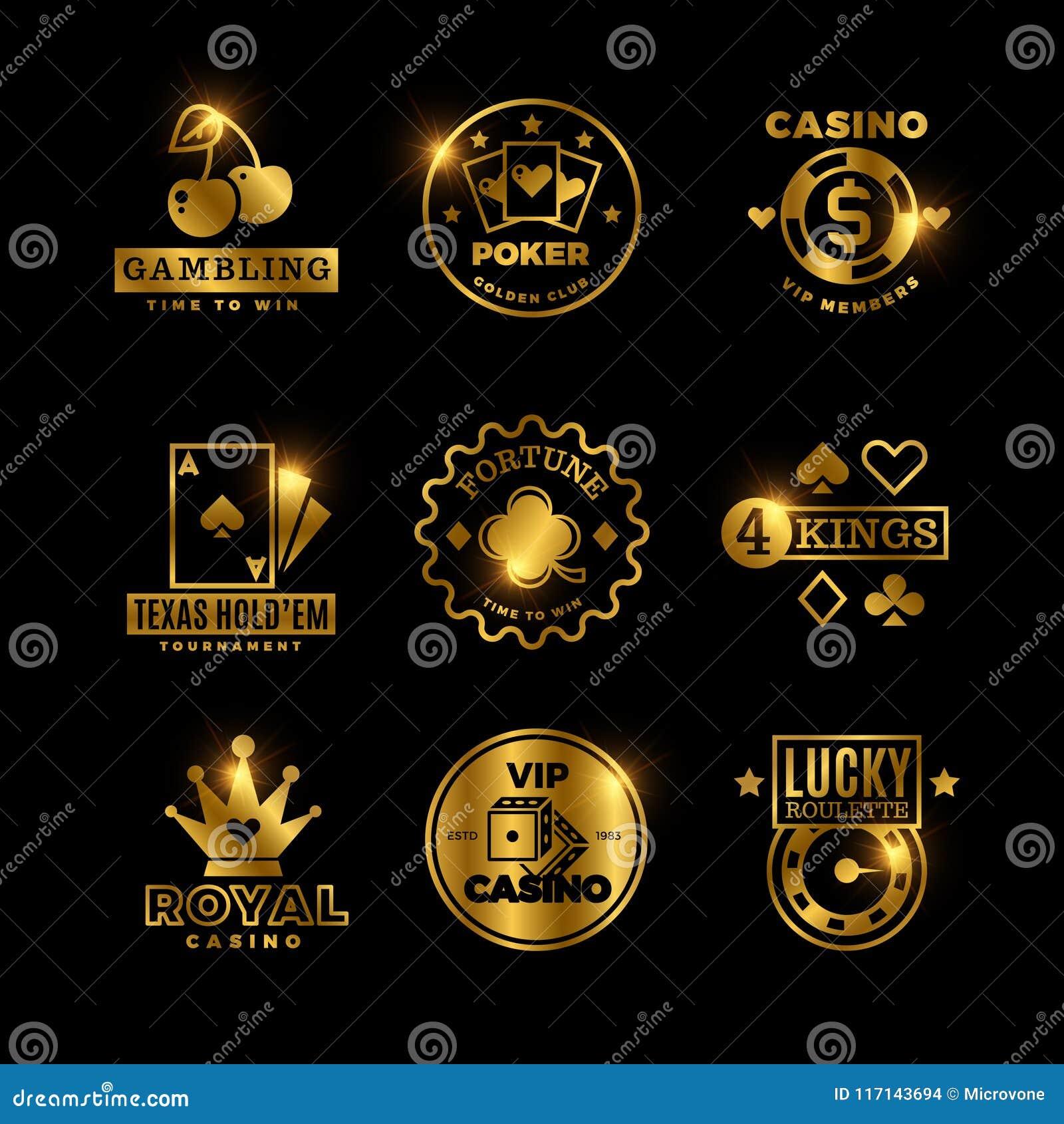 Jogo dourado, casino, competiam do pôquer, etiquetas do vetor da roleta, emblemas, logotipos e crachás reais