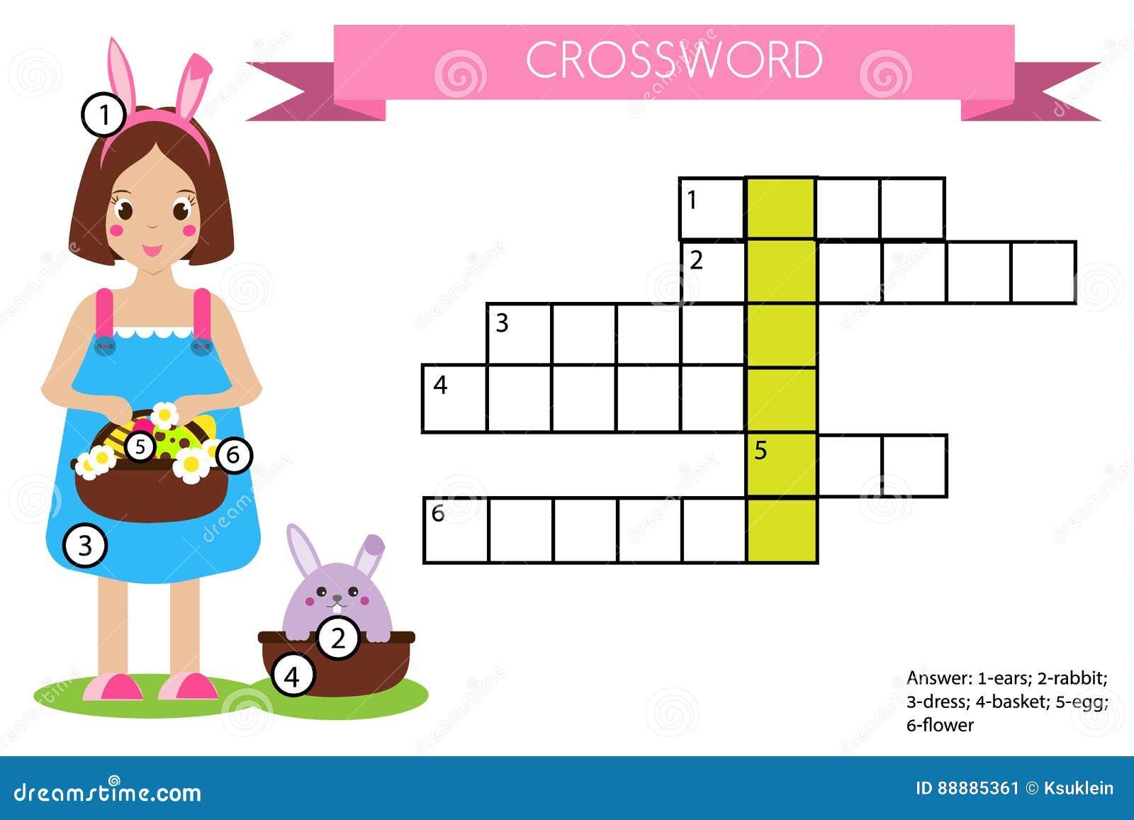 Jogo Educacional Das Crianças Das Palavras Cruzadas Com Resposta Tema De Easter Ilustração do Vetor