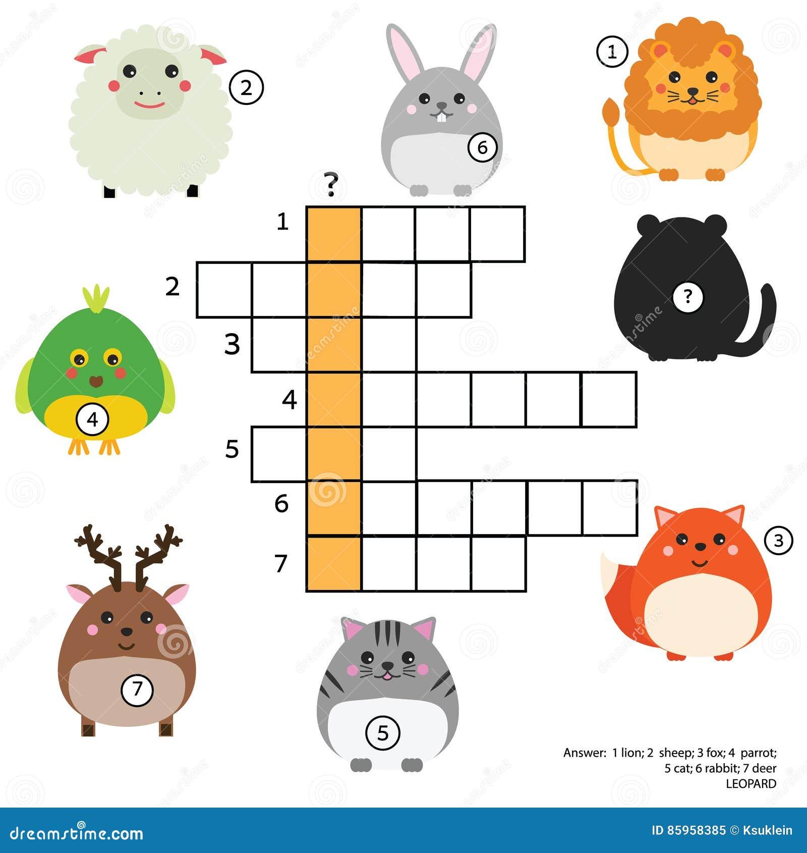 Jogo Educacional Das Crianças Das Palavras Cruzadas Com Resposta Tema Dos Animais Aprendendo O Vocabulário Ilustração do Vetor