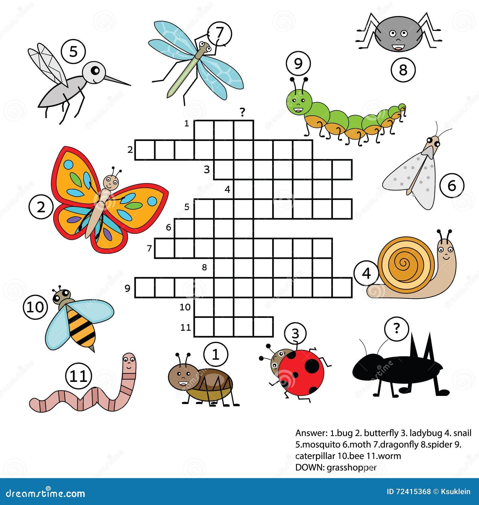 Jogo Educacional Das Crianças Das Palavras Cruzadas Com Resposta Tema Dos Insetos Ilustração do Vetor