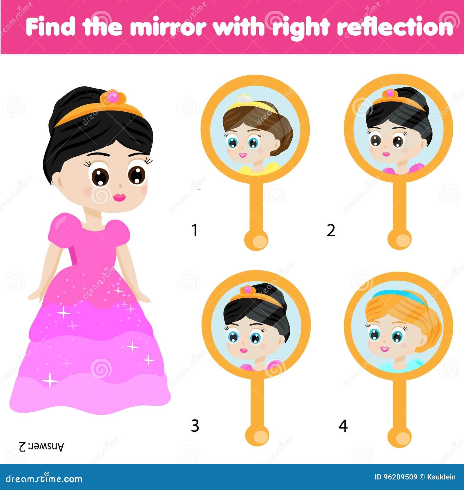 Jogo educacional das crianças Pares de harmonização Encontre a reflexão correta