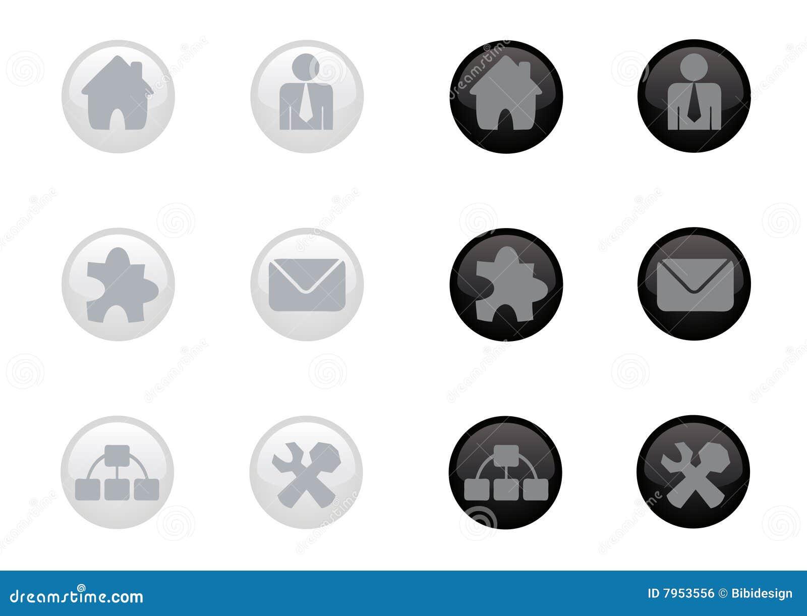 Jogo lustroso do ícone do Web