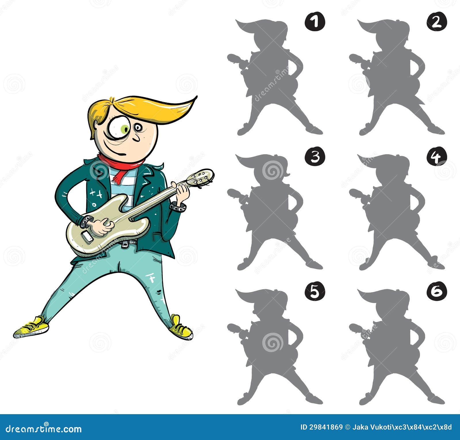 Jogo do Visual da imagem invertida do guitarrista