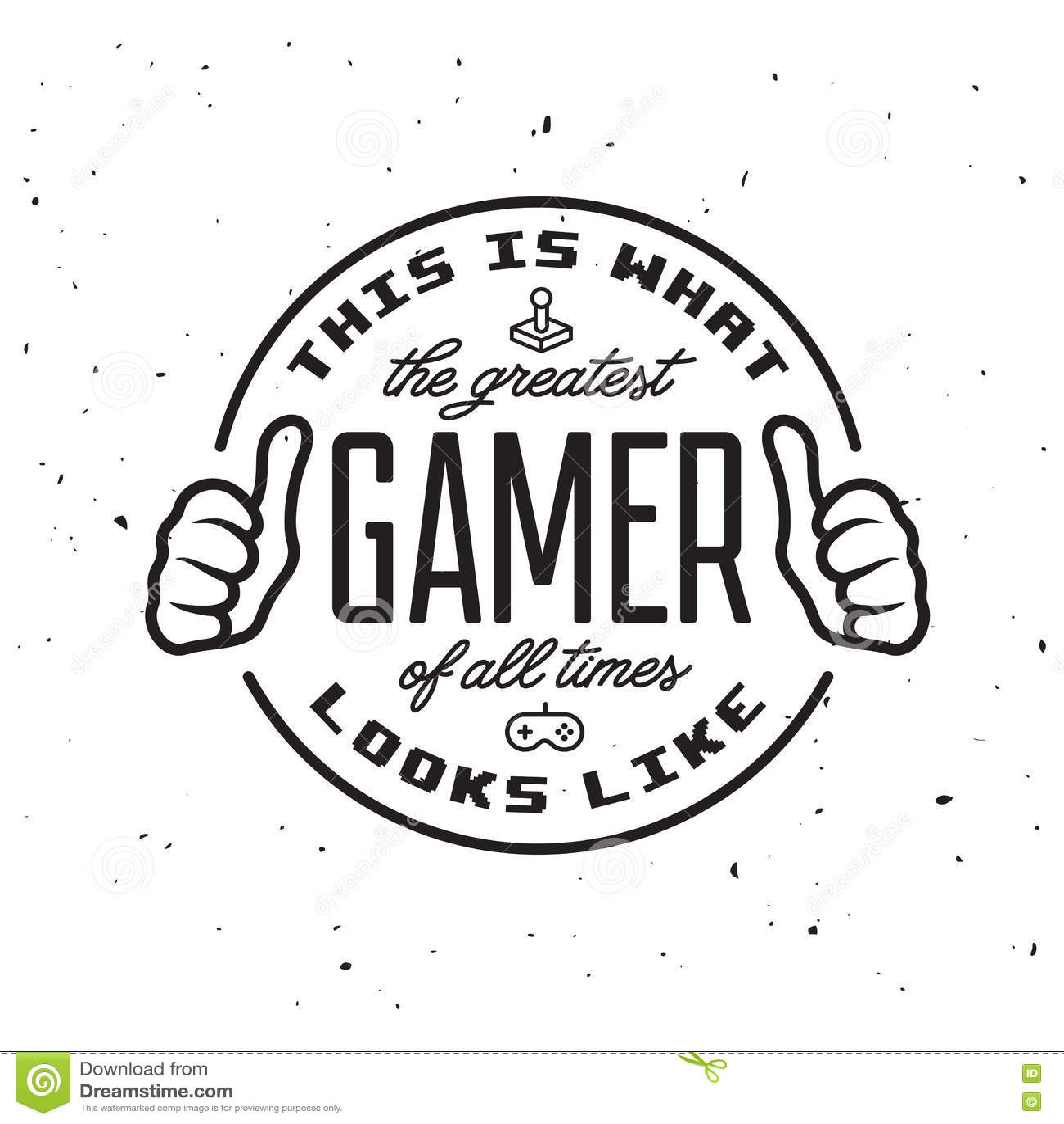 Jogos de vídeo retros projeto relativo do t-shirt O grande texto do gamer Ilustração do vintage do vetor