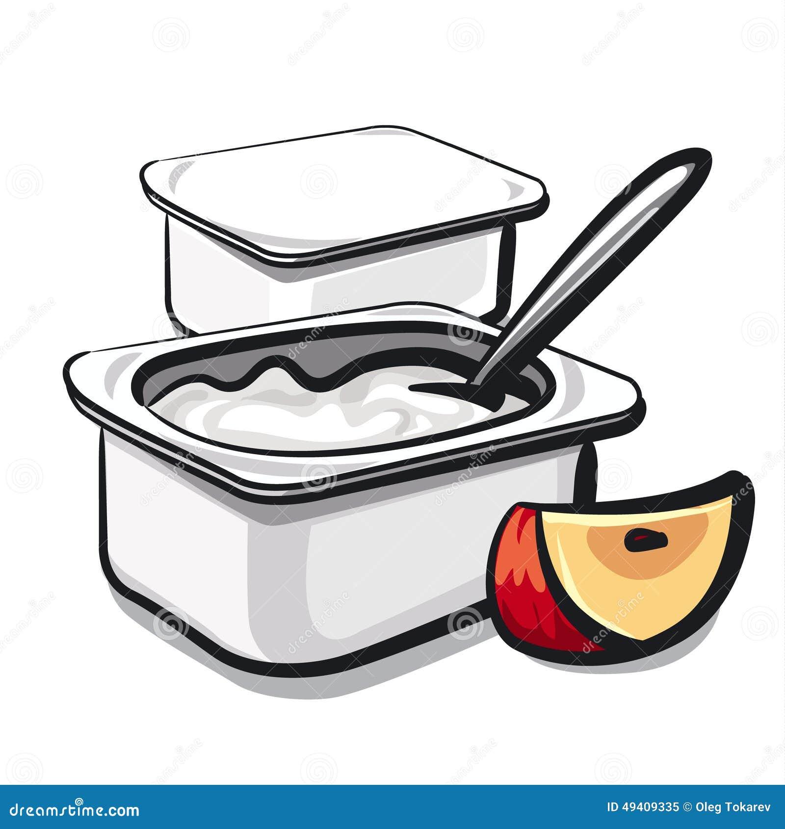 Download Jogurt mit Apfel stock abbildung. Illustration von süß - 49409335