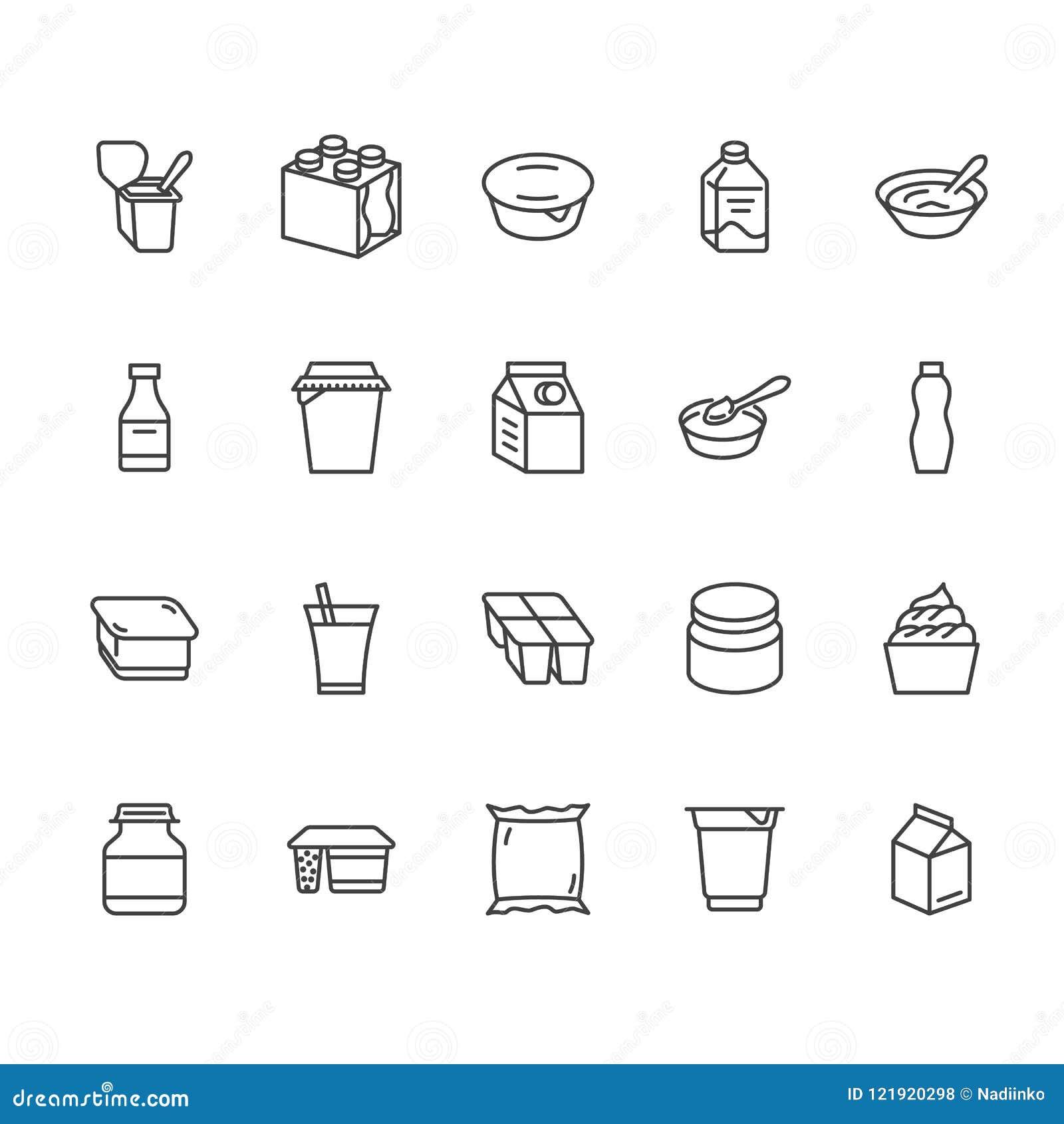 Jogurt pakuje mieszkanie kreskowe ikony Nabiały - dojna butelka, śmietanka, kefir, serowe ilustracje Cienieje znaki dla jedzenia