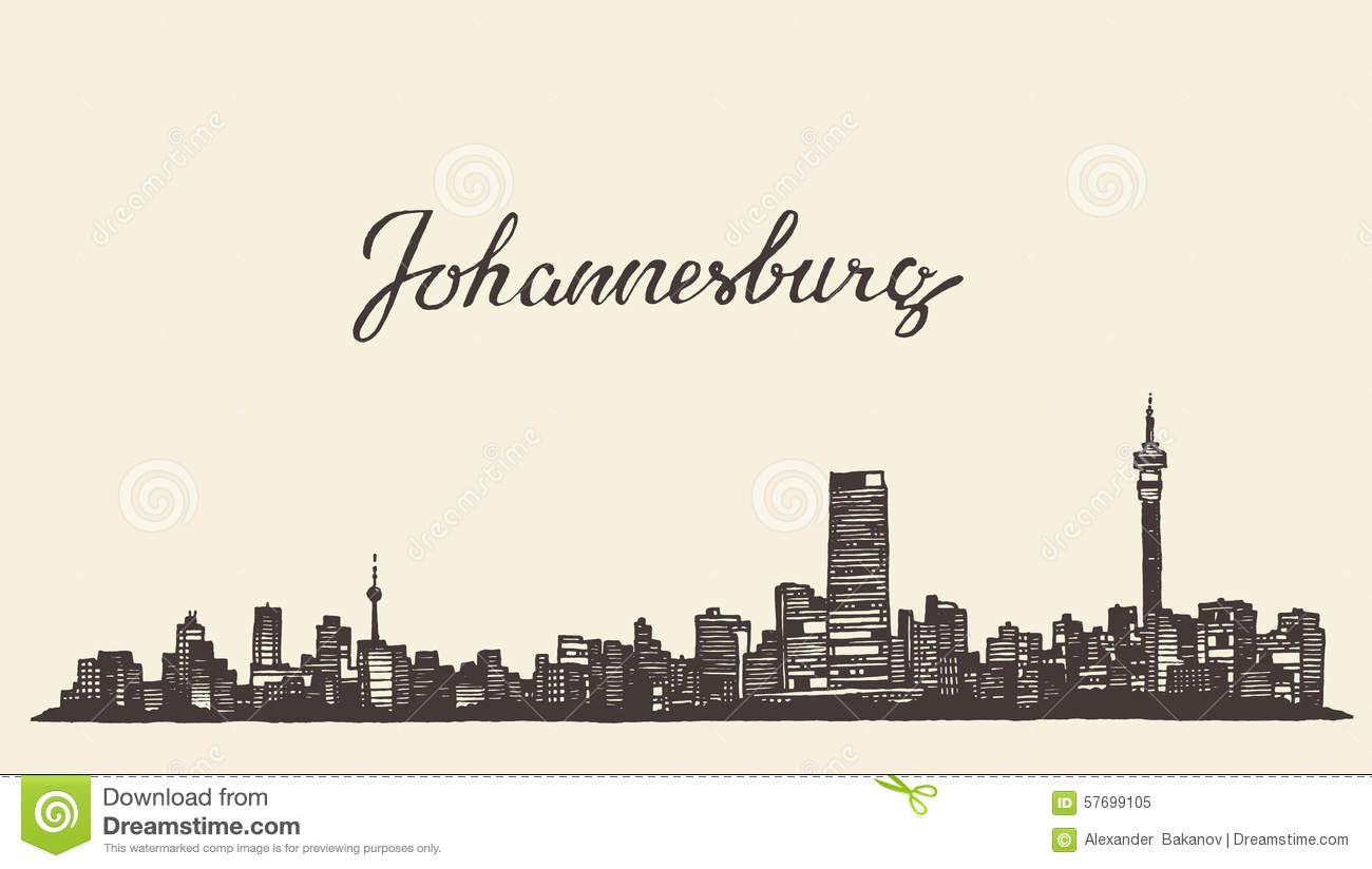 ... Skyline Vector Engraved Drawn Sketch Stock Vector - Image: 57699105