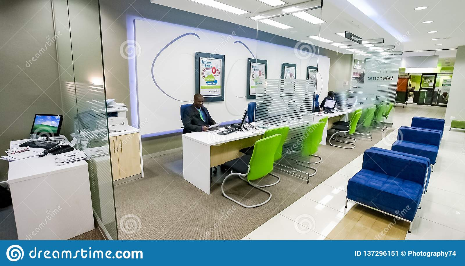 Inside interior of a modern african bank editorial photo image