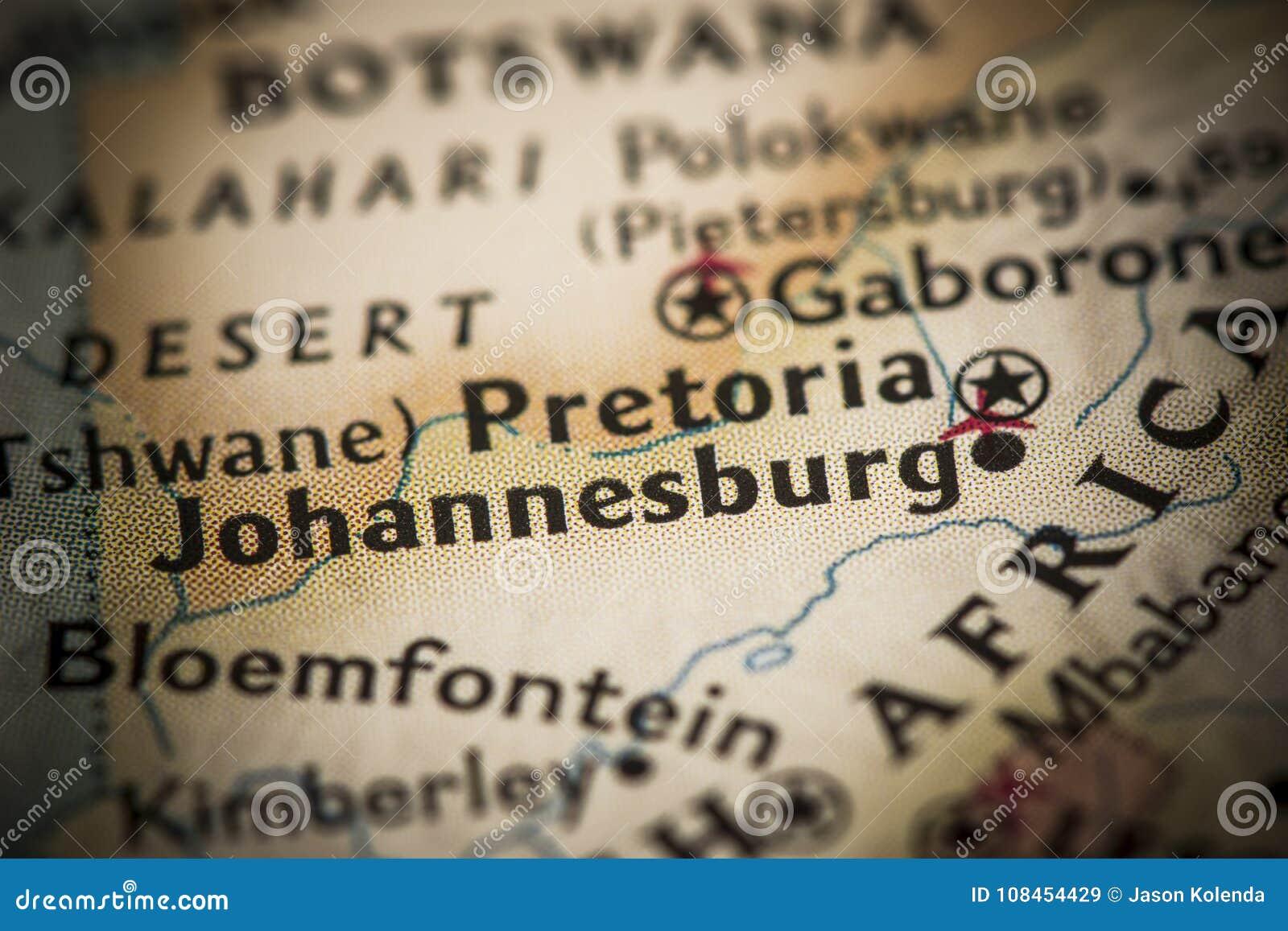Johannesburgo en mapa