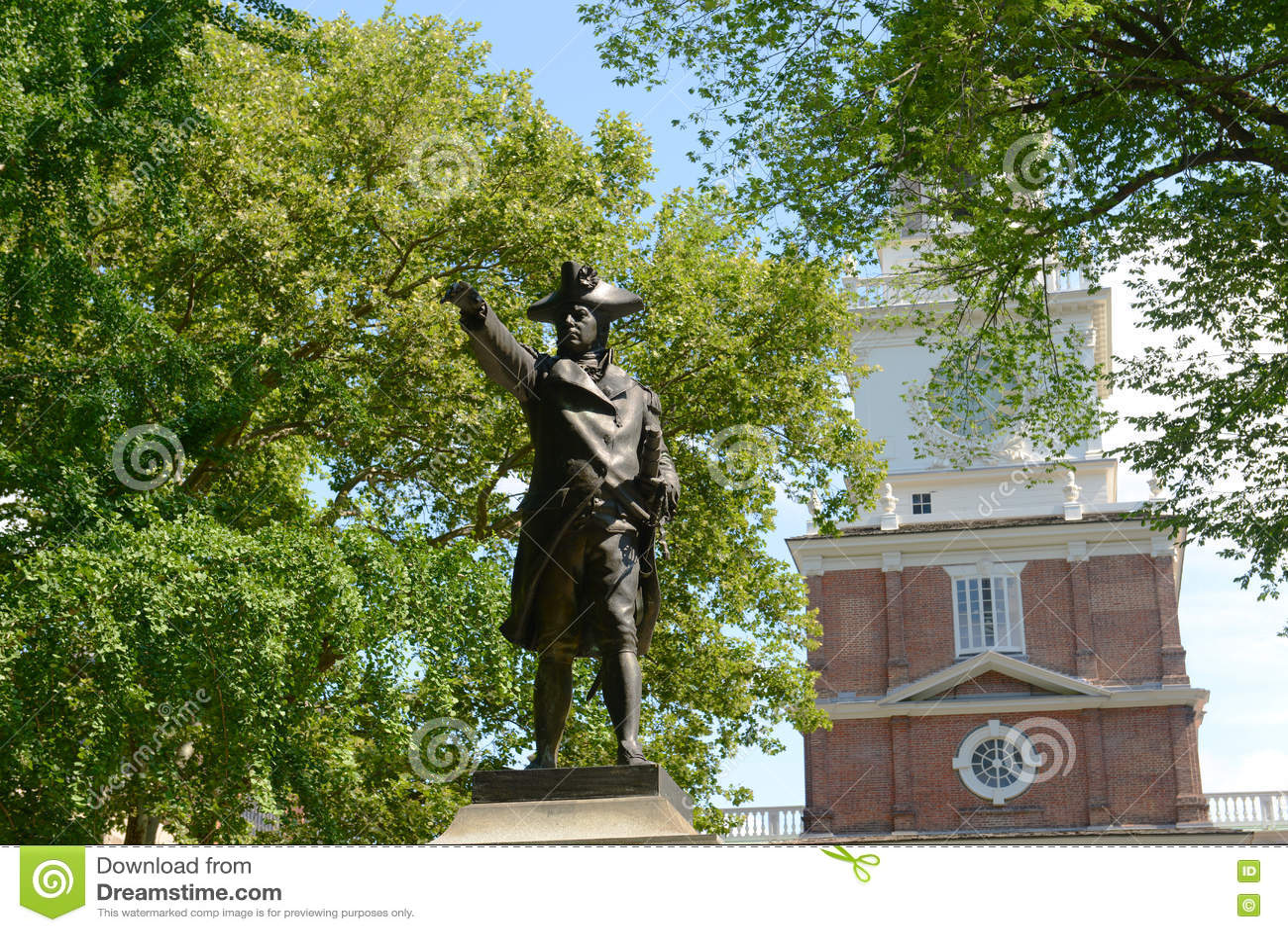 John Barry Statue und Unabhängigkeit Hall, Philadelphia