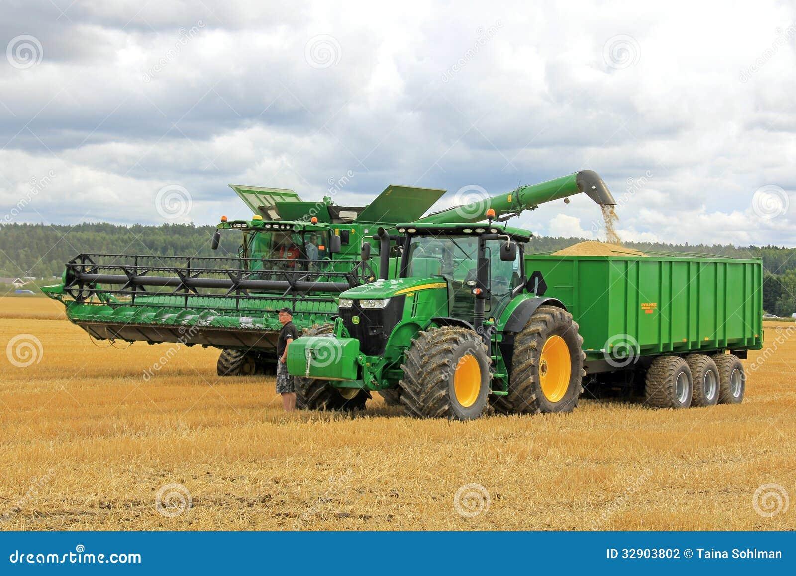 John Deere Combine Unloading Grain