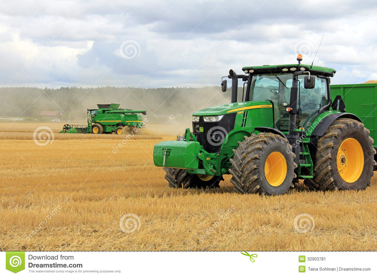 John Deere 7280R Agricultural Tractor And T560 Combine Harvester ...