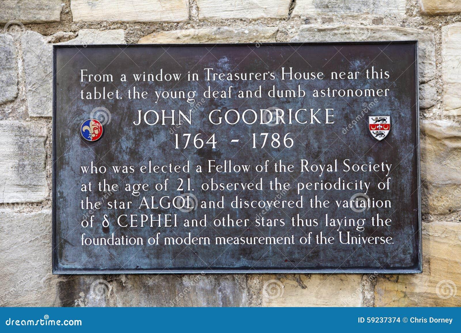 John Goodricke Plaque en York