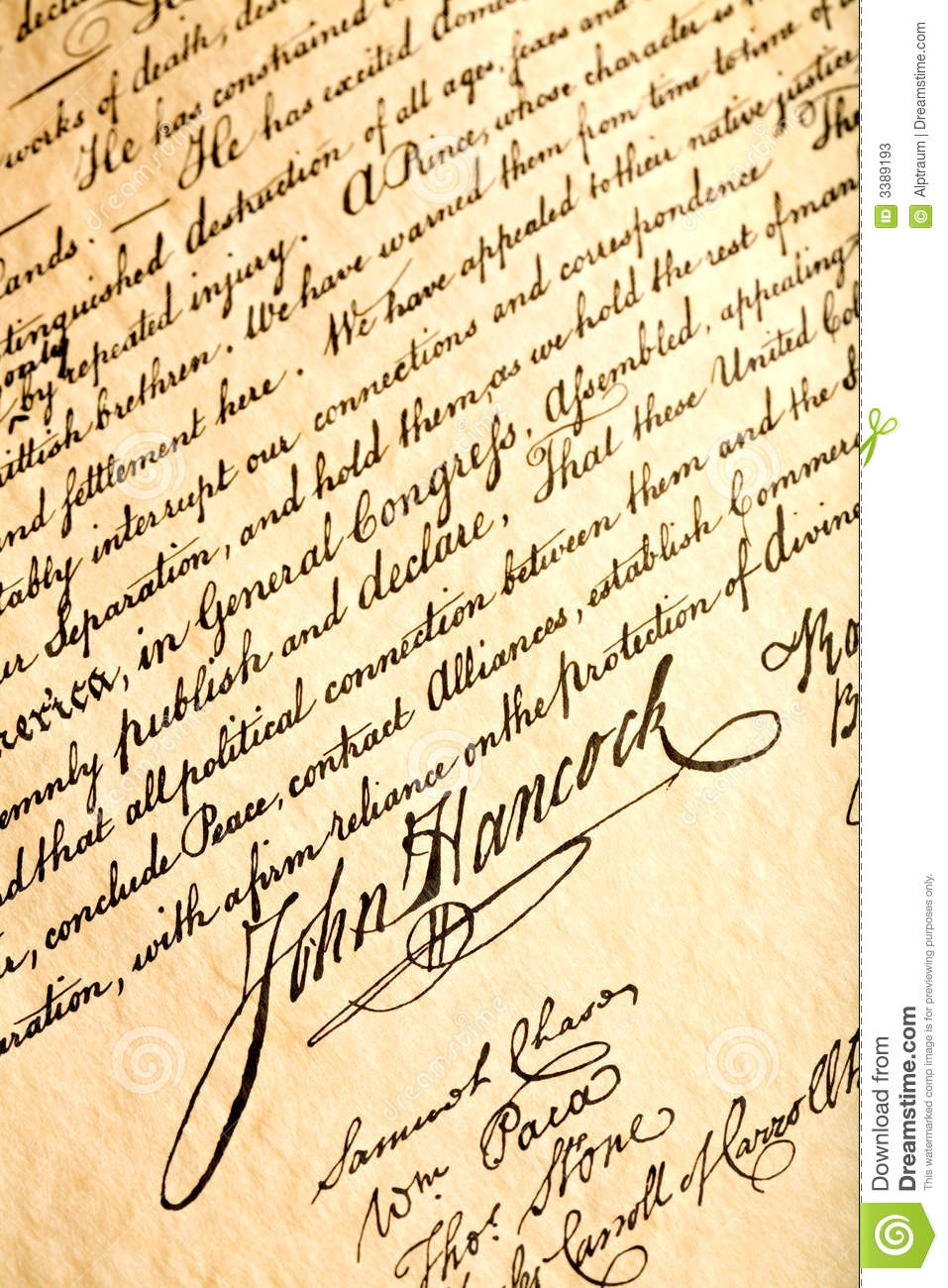 John Hancock on declaration