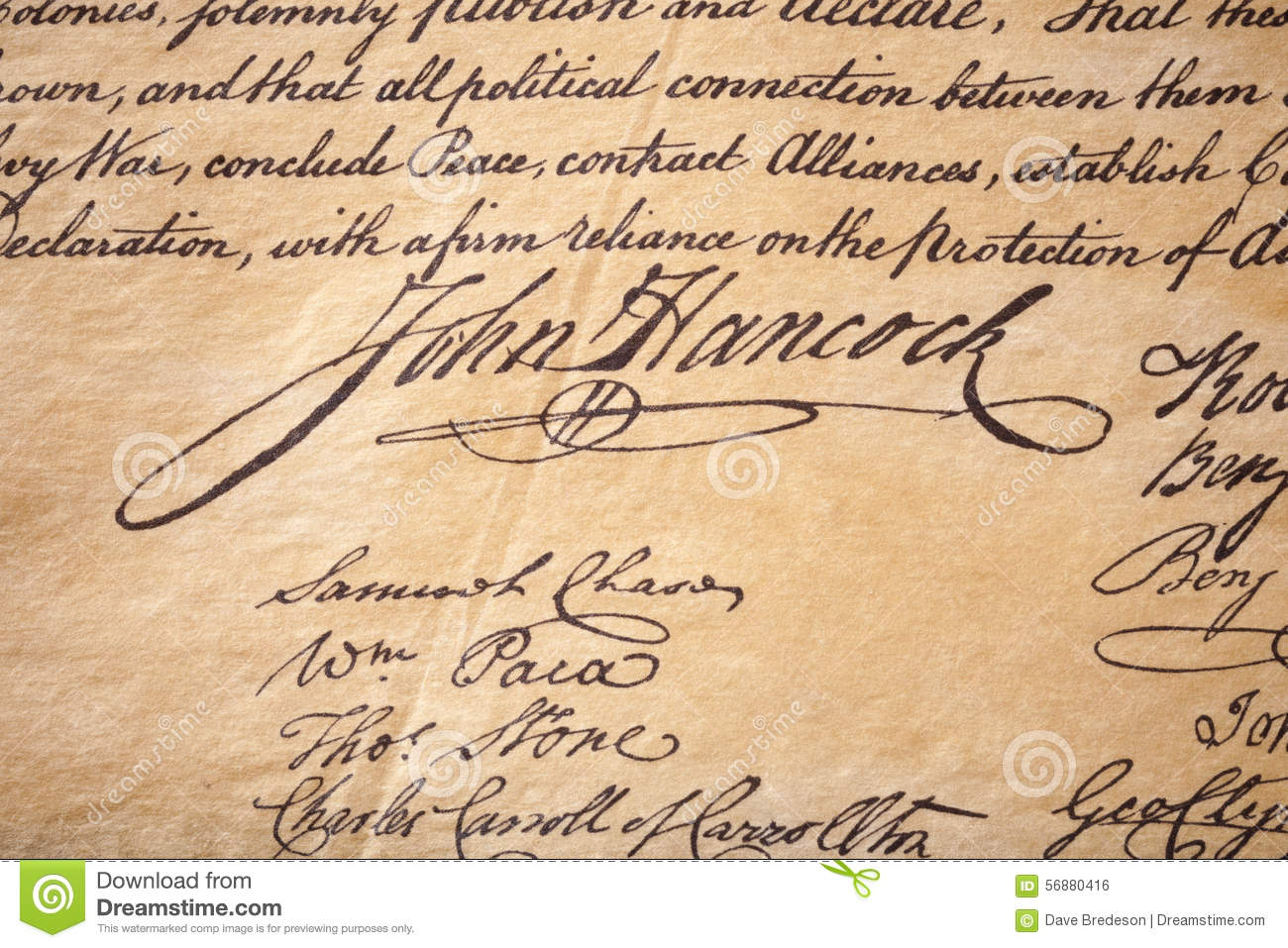John Hancock Signature Handwriting Editorial Photo - Image ...