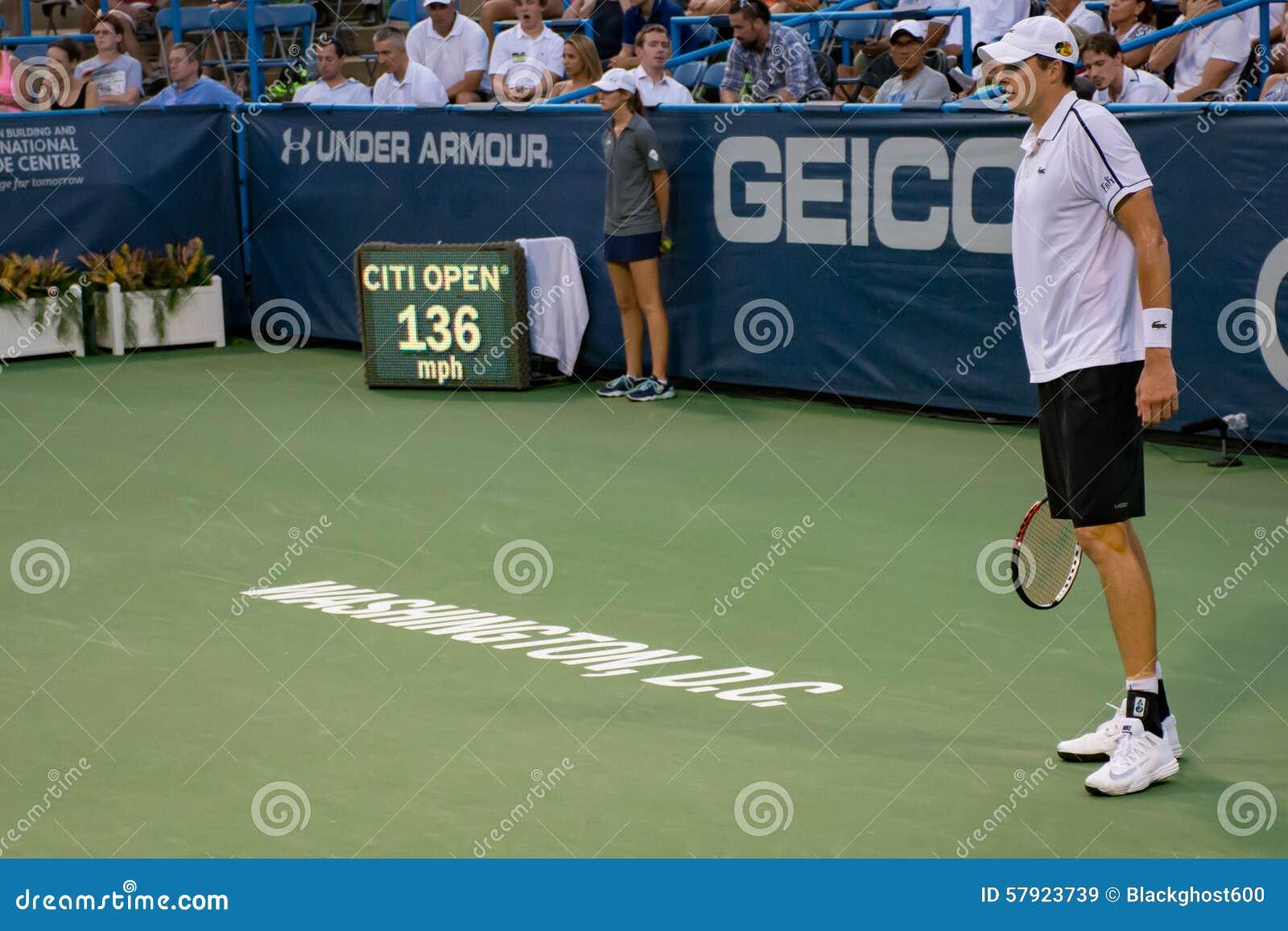John Isner serves 136 mph at the Citi Open 2015