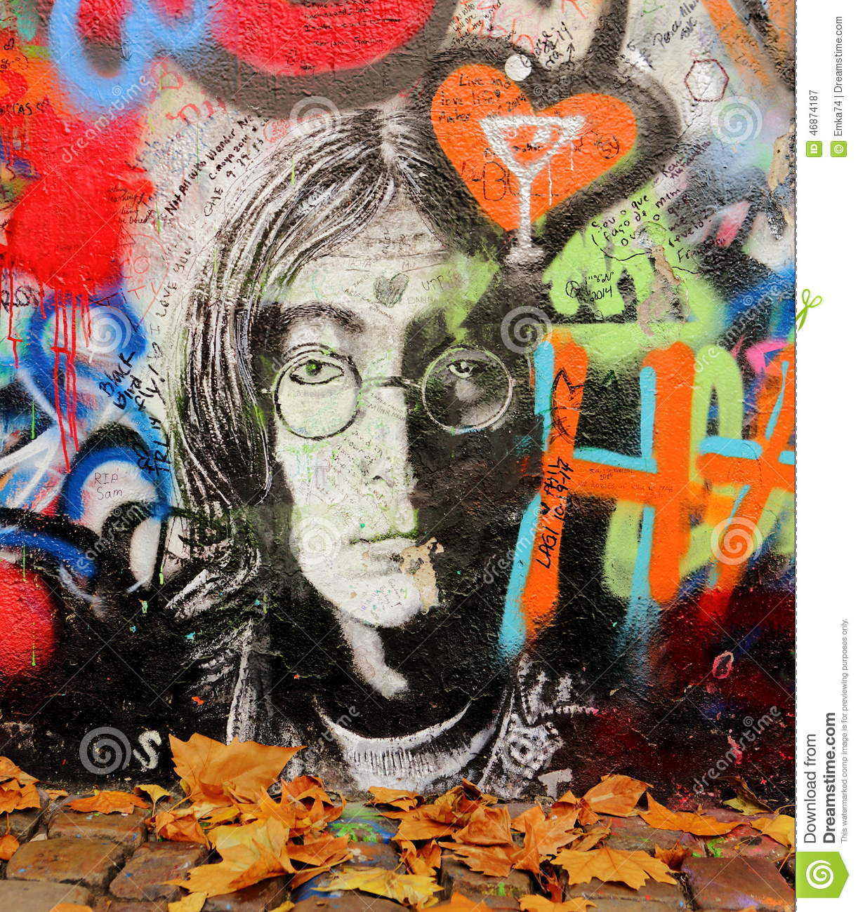 Prague czech republic november 14 the lennon wall since the 1980s is filled with john lennon inspired graffiti and pieces of lyrics from beatles songs