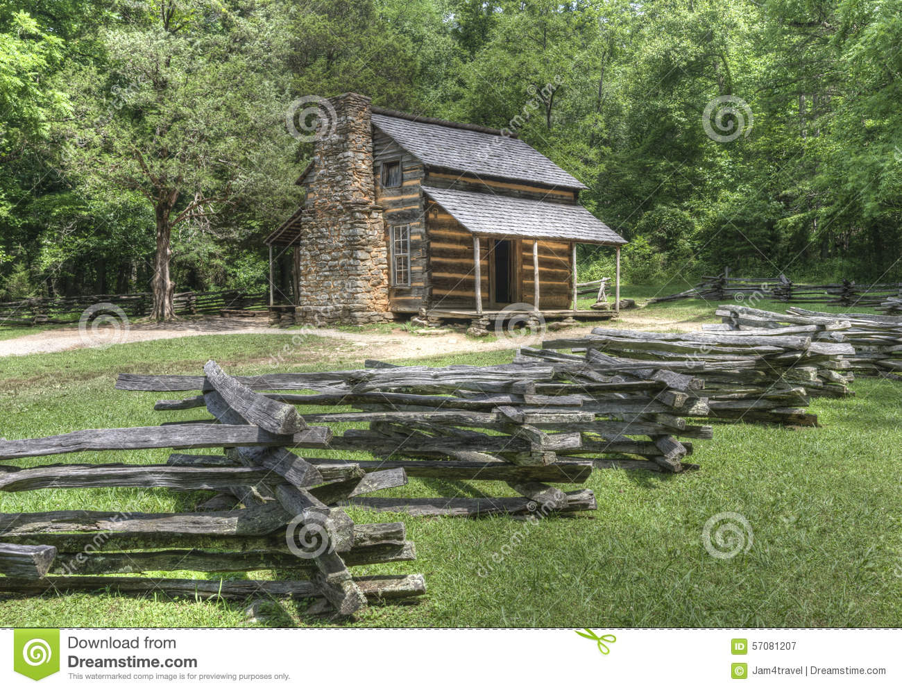 Superb img of John Oliver Log Cabin located in Cades Cove Area of the Great Smoky  with #7B8744 color and 1300x994 pixels