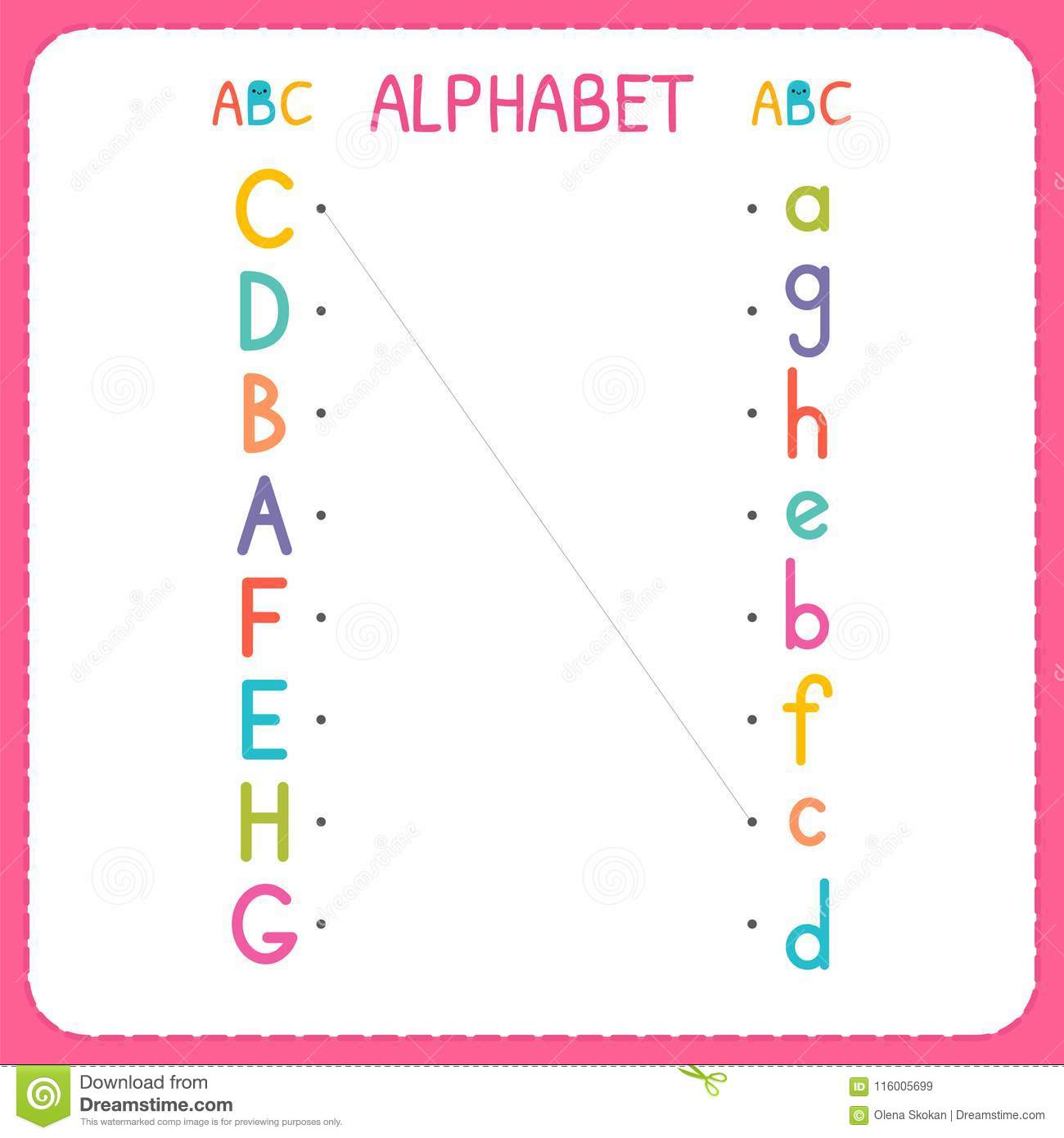 Join Each Capital Letter With The Lowercase Letter From A To H
