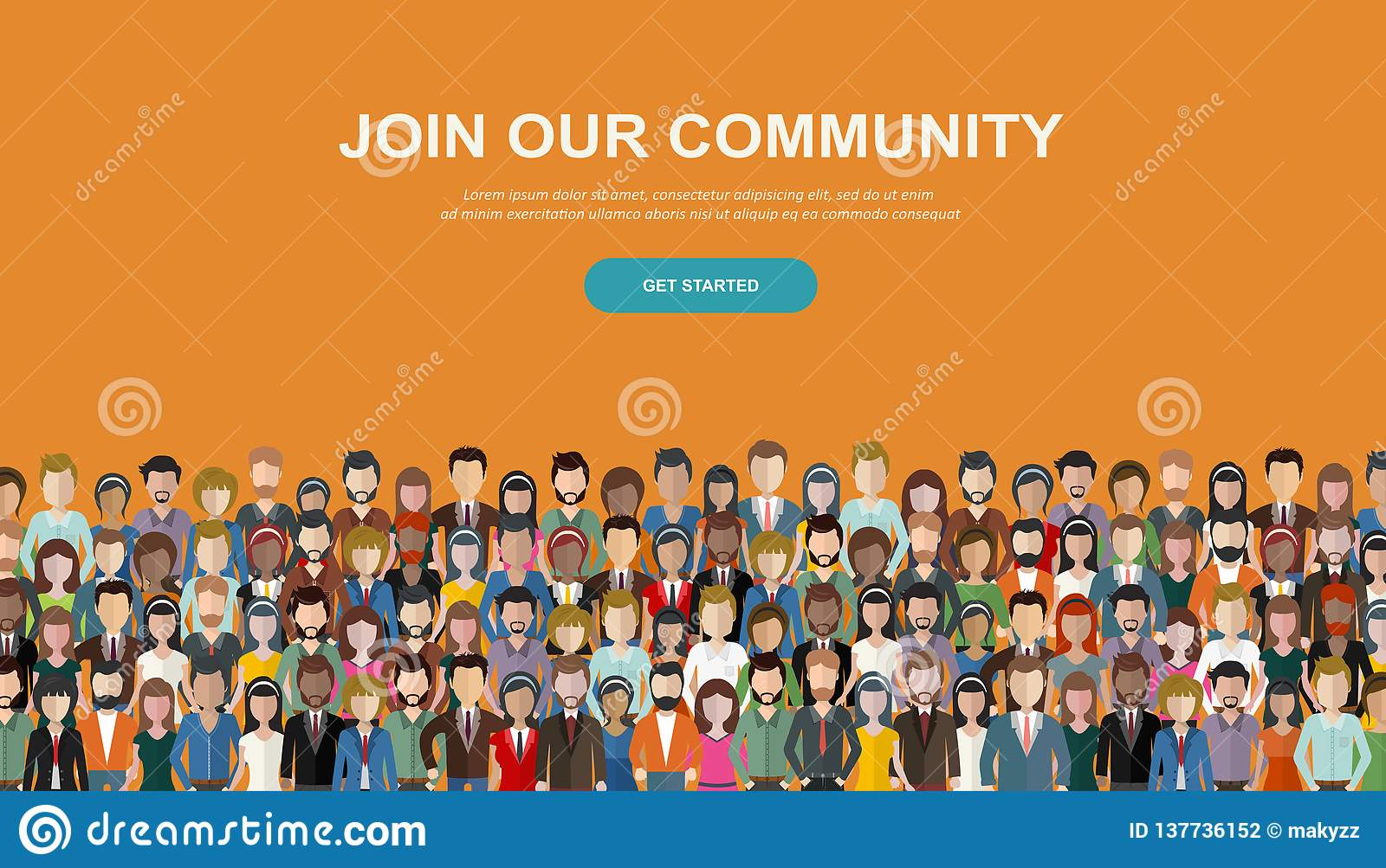 Join our community. Crowd of united people as a business or creative community standing together. Flat concept vector