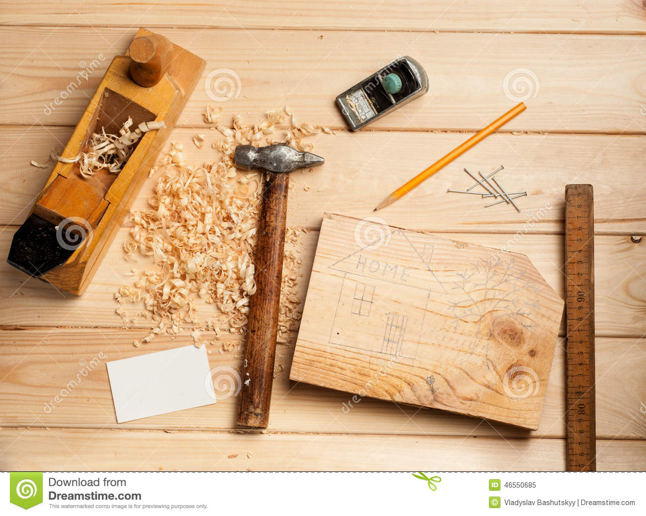 Joinery Tools On Wood Table Background With Stock Image Image Of