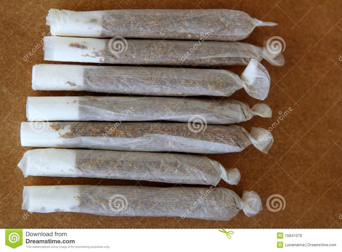 Joint Cigarettes Hand Rolled In Row Tobacco Stock Photo
