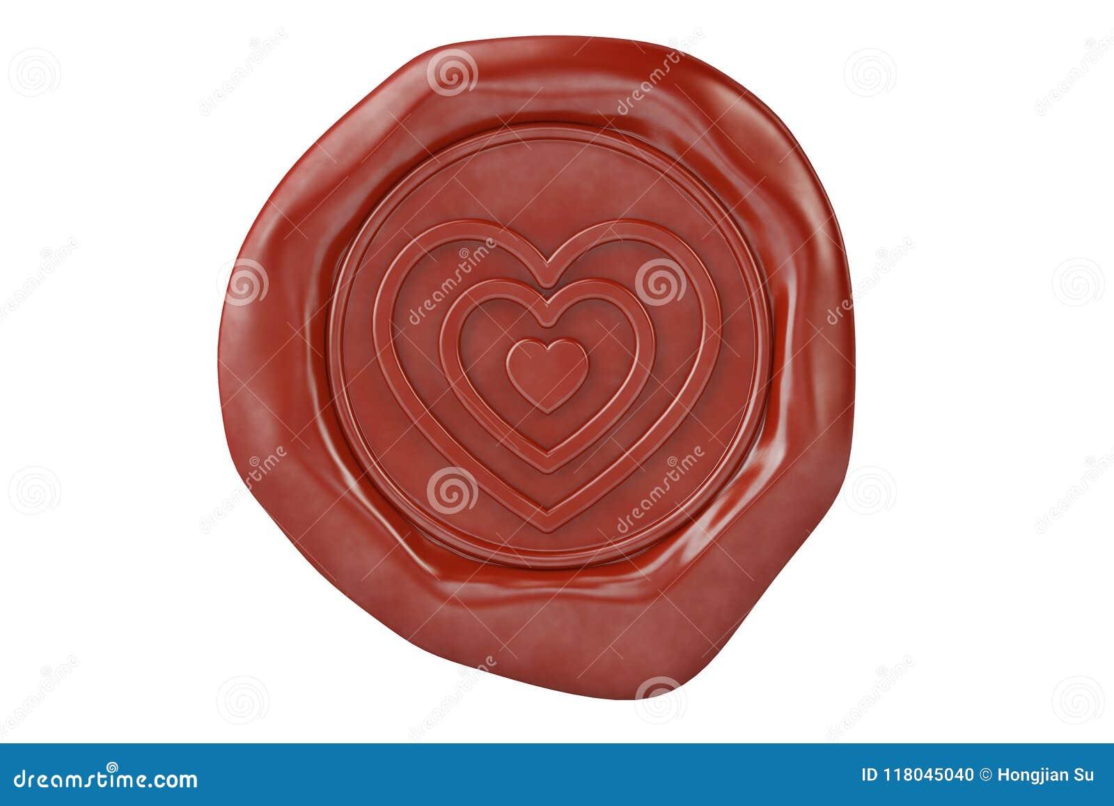 Joint rouge en forme de coeur de la cire trois illustration 3D