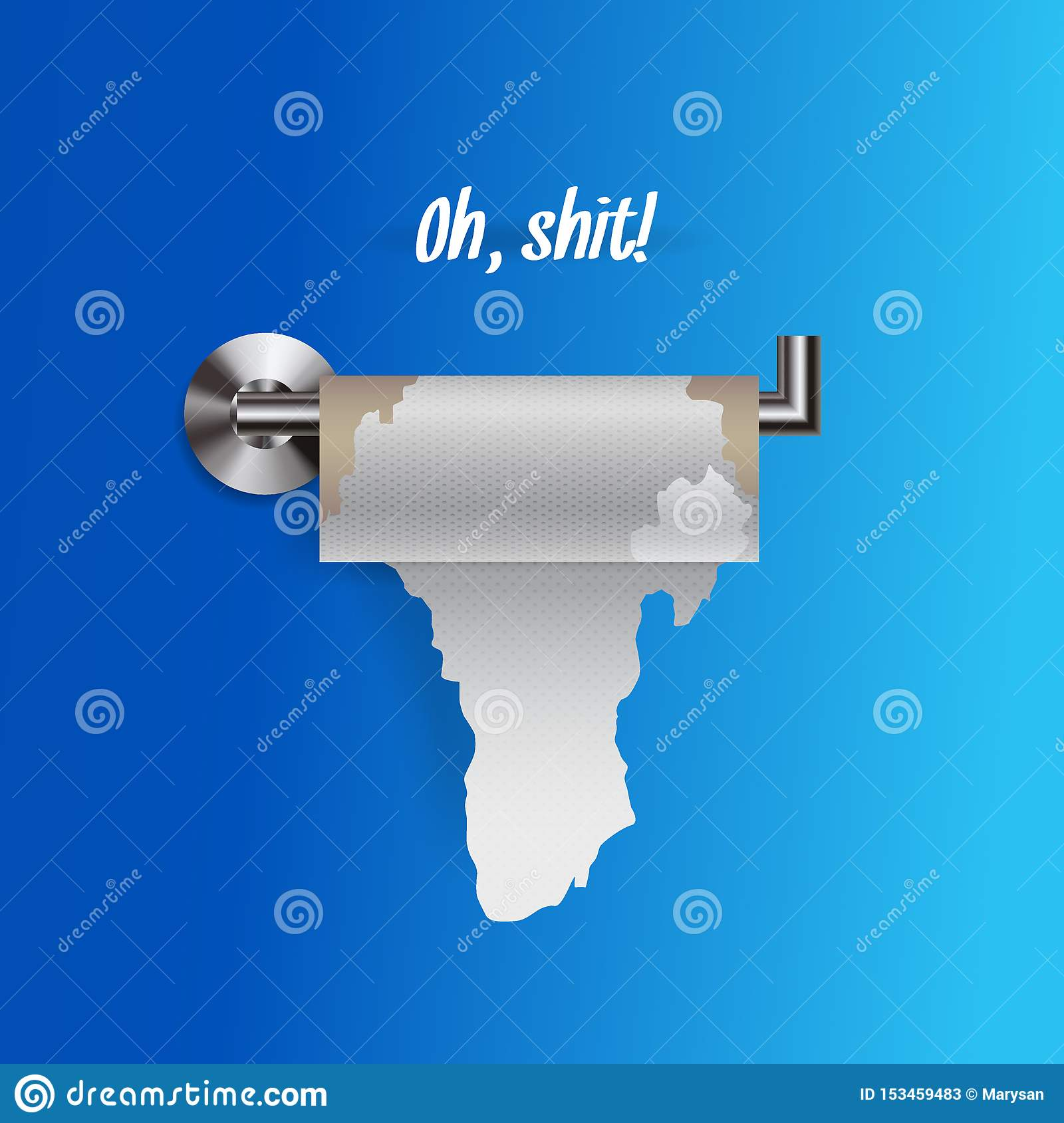 Joke concept of nearly empty torn toilet paper on a holder, realistic toilet paper vector illustration