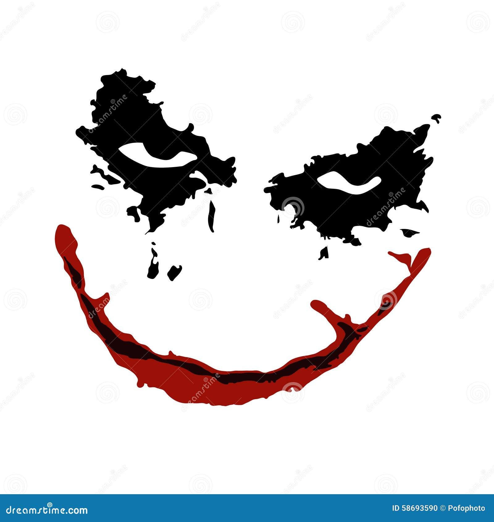 Joker Batman Movie Isolated White Background Easy Tattoo Image Download