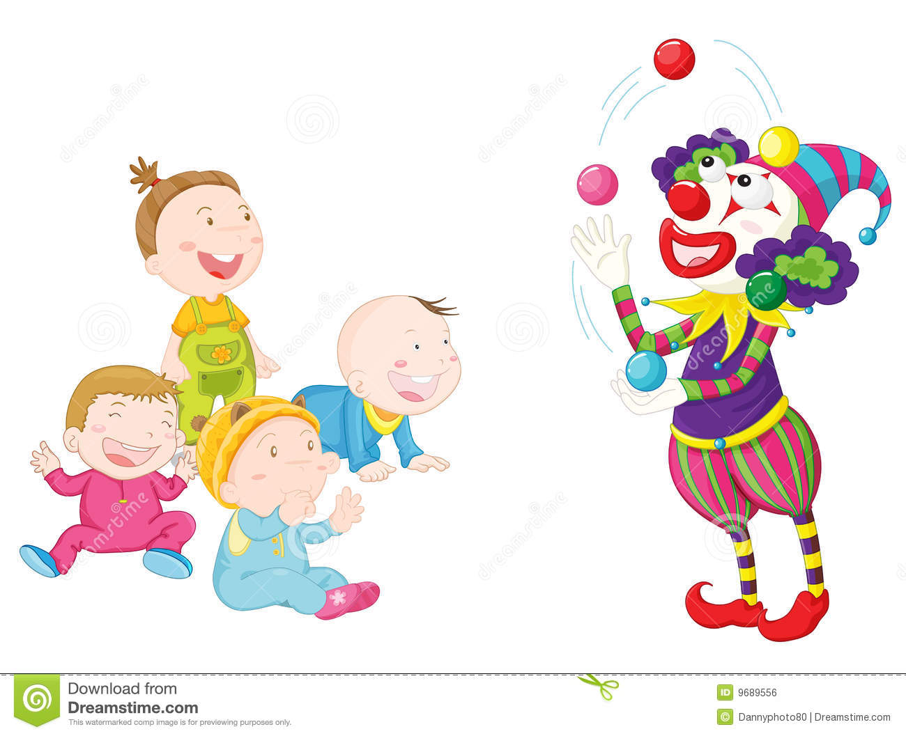 Joker with kids stock vector. Illustration of baskets ...