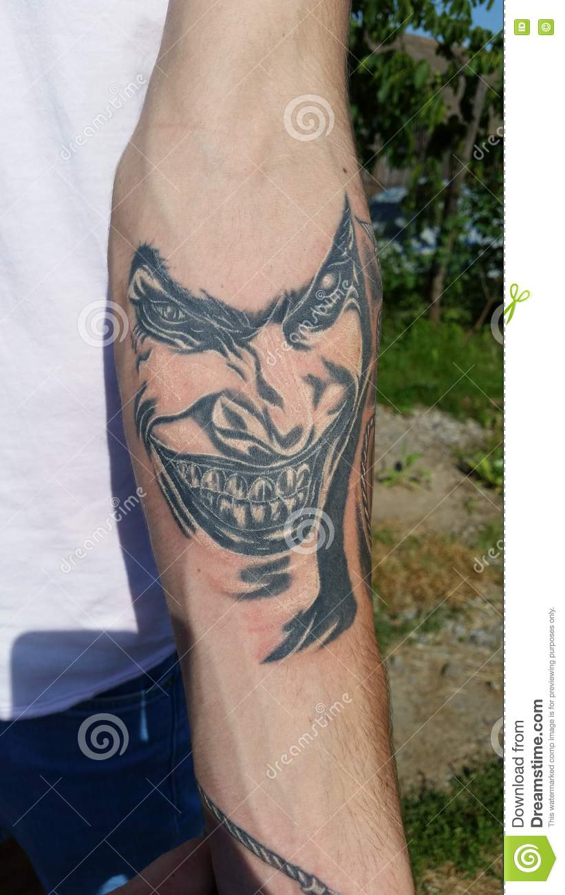 Joker Tattoo Editorial Stock Image Image Of Simple Tattoo 72527014