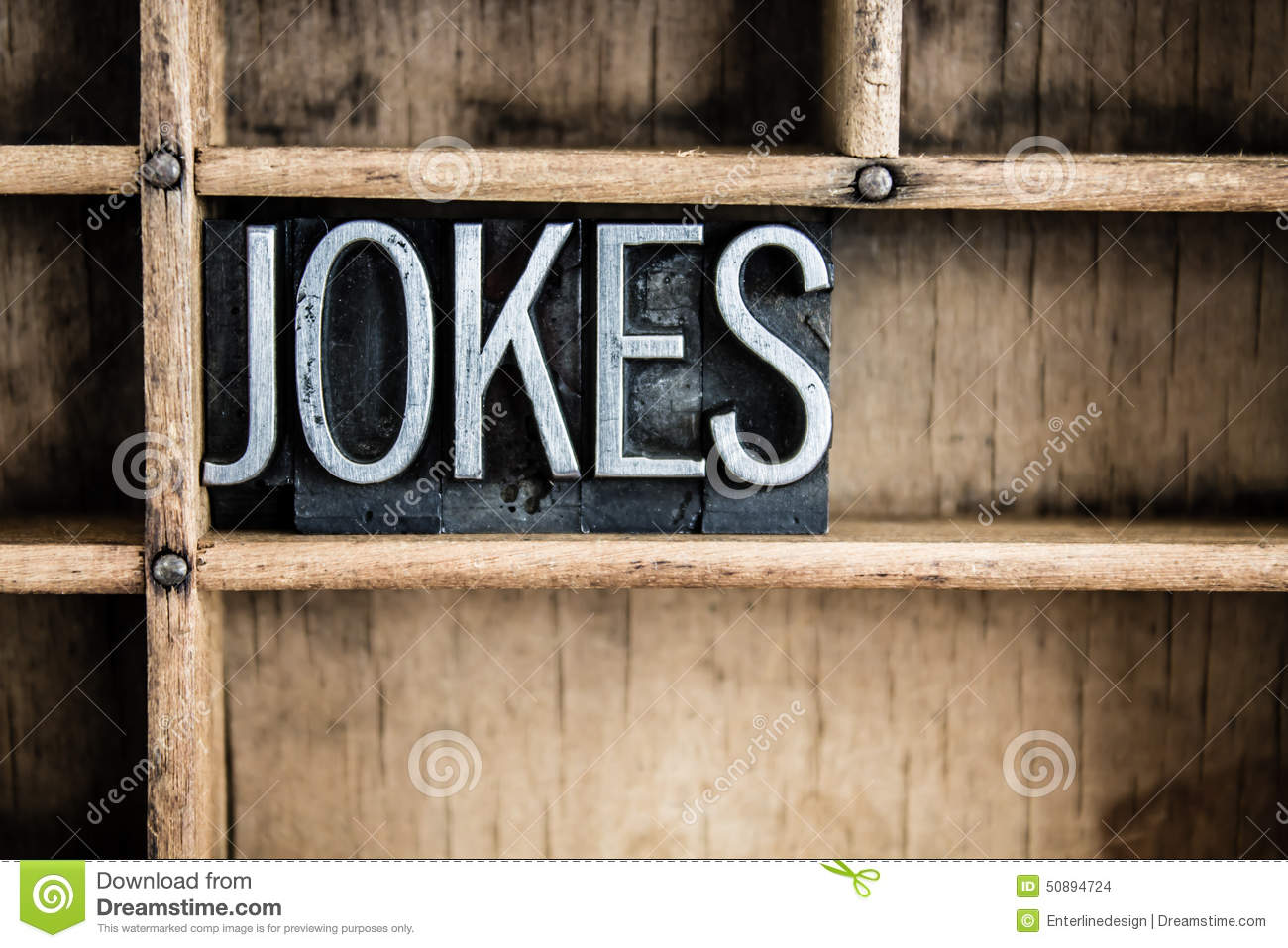 Jokes concept metal letterpress word in drawer stock photo for Concept metal