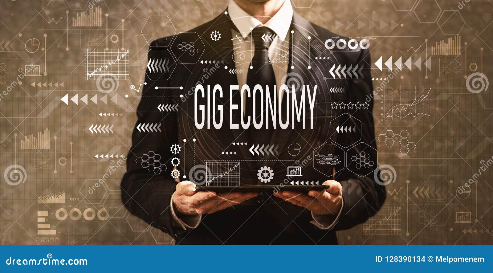 Joleconomie met zakenman die een tabletcomputer houden