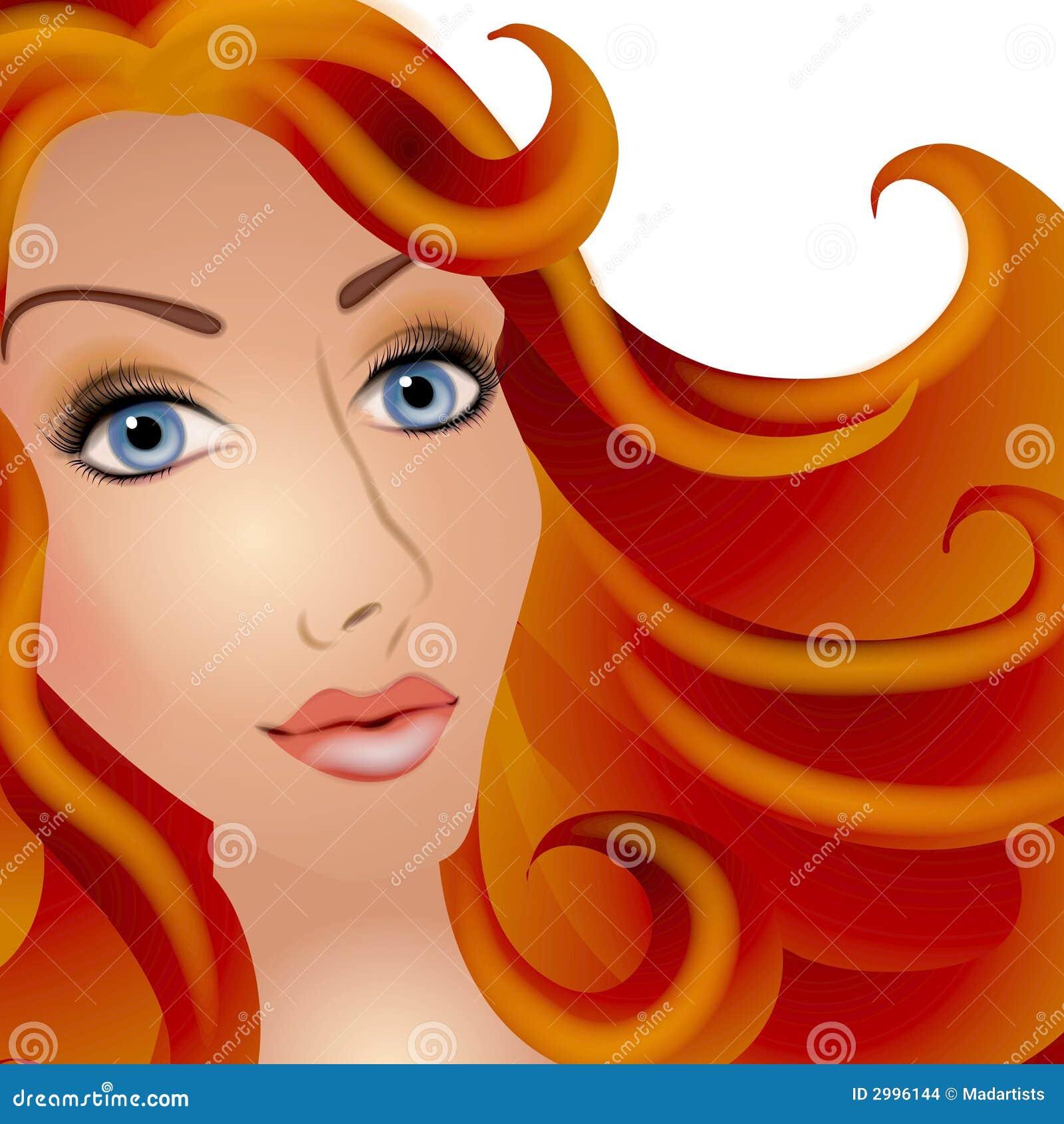 Joli femme avec le cheveu rouge