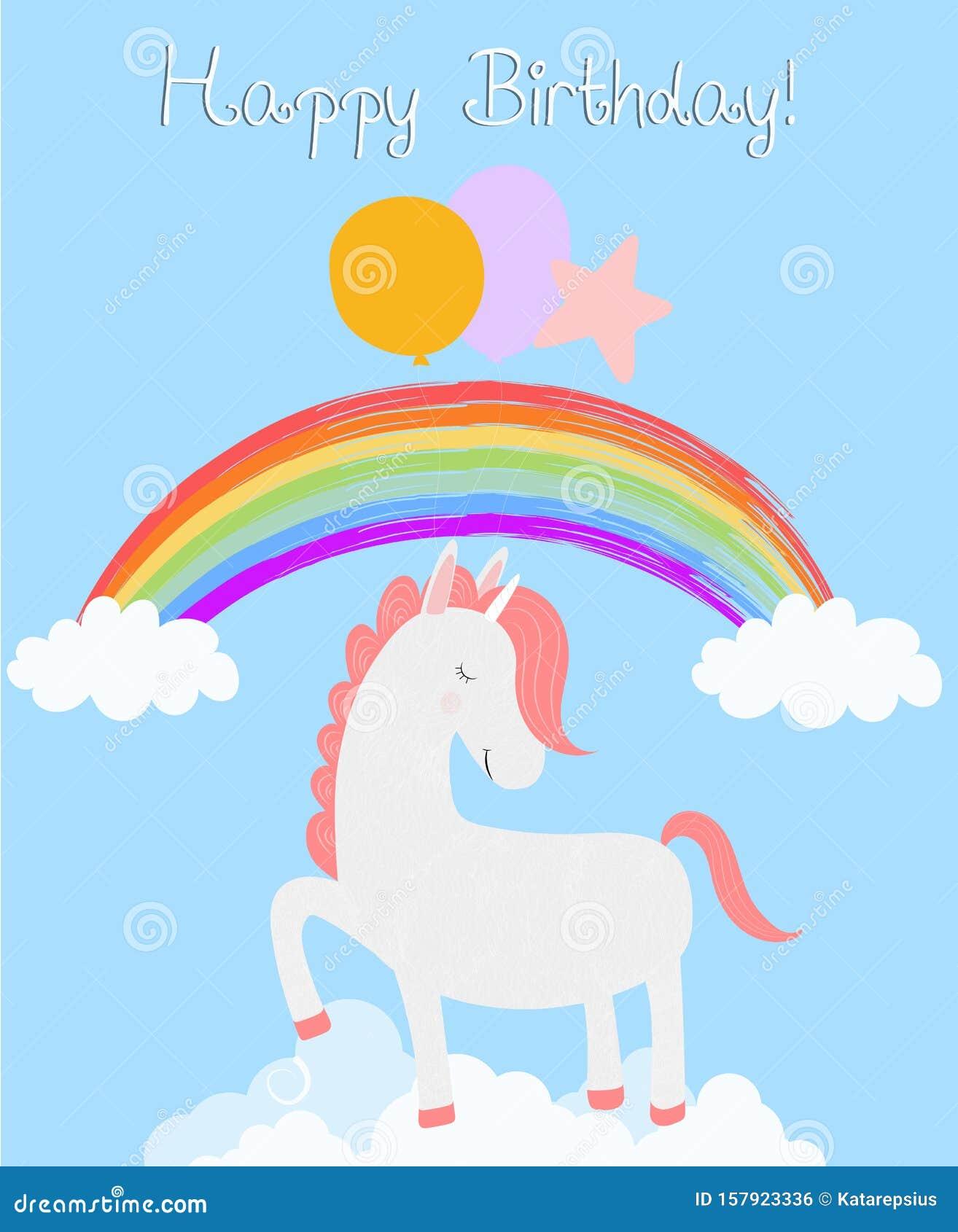 Jolie Carte D Anniversaire Unicorne Poney Blanc Illustration De Vecteur Illustration Du Blanc Anniversaire 157923336