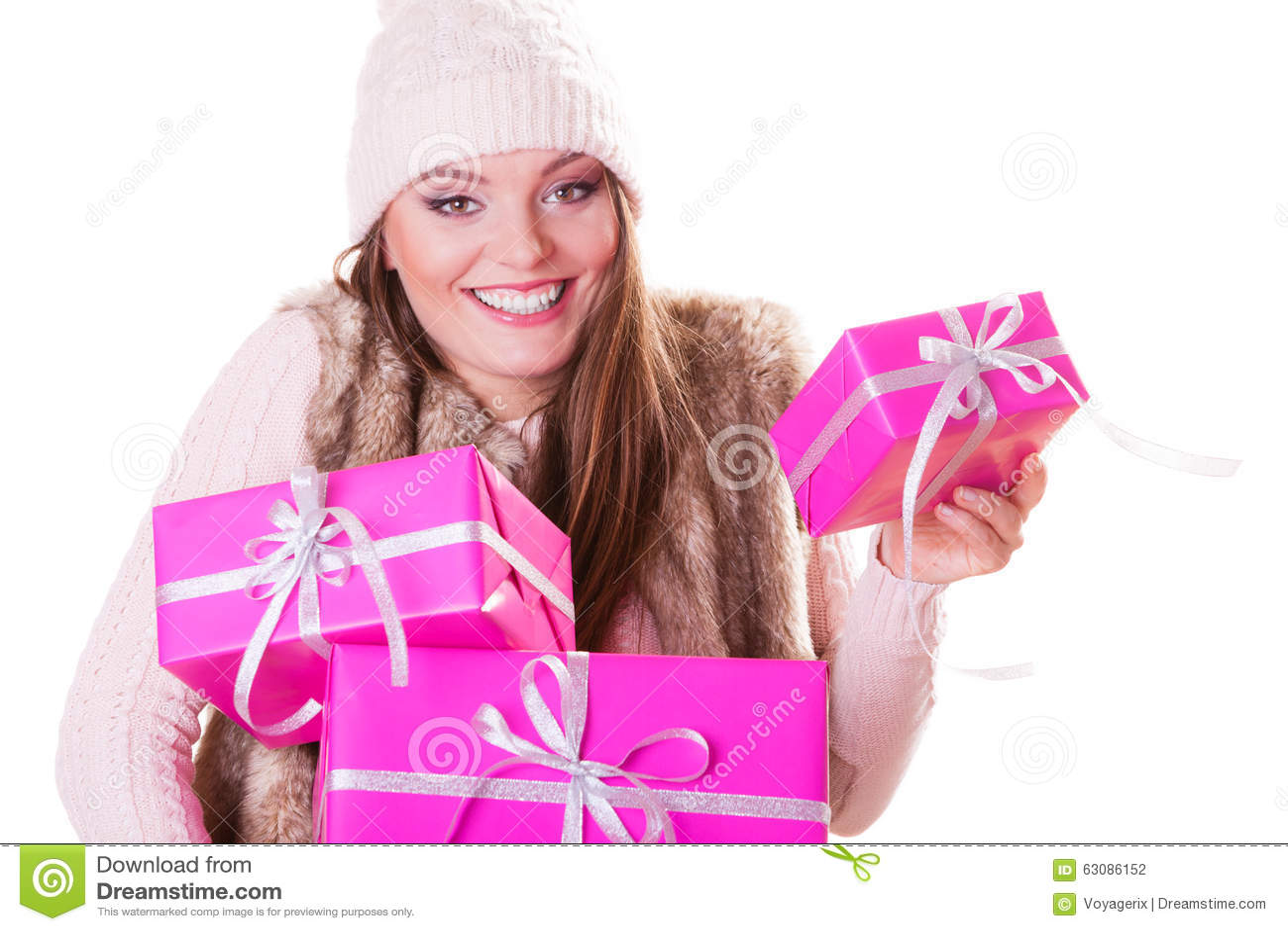 Download Jolie Femme De Mode Avec Des Cadeaux De Boîtes Noël Photo stock - Image du temps, hiver: 63086152