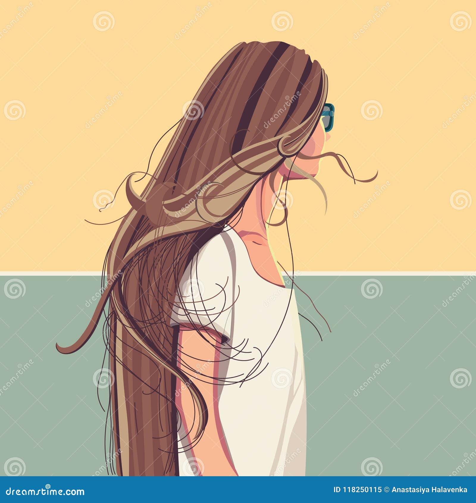Jolie Fille Avec De Longs Cheveux Dans Des Lunettes De Soleil
