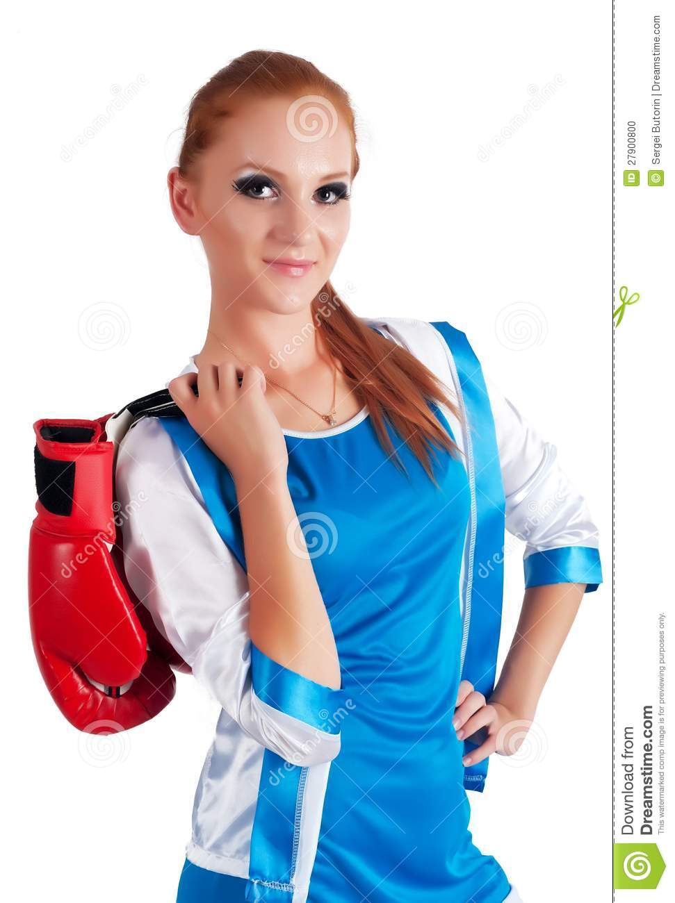 jolie fille avec des gants de boxe photo stock image. Black Bedroom Furniture Sets. Home Design Ideas