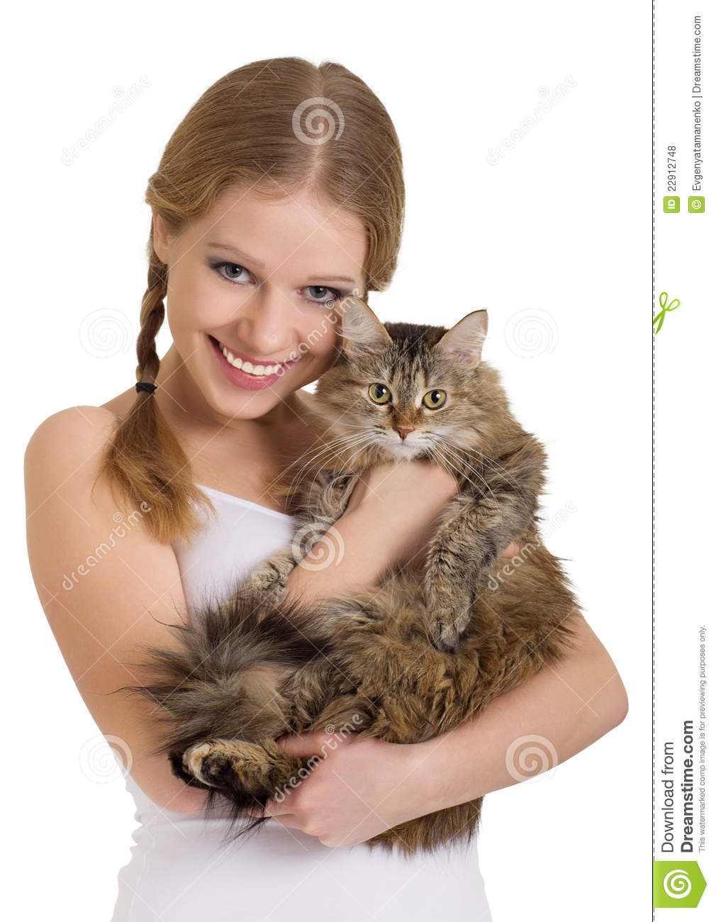 jolie fille avec un chat pelucheux photo stock image du fixation fourrure 22912748. Black Bedroom Furniture Sets. Home Design Ideas