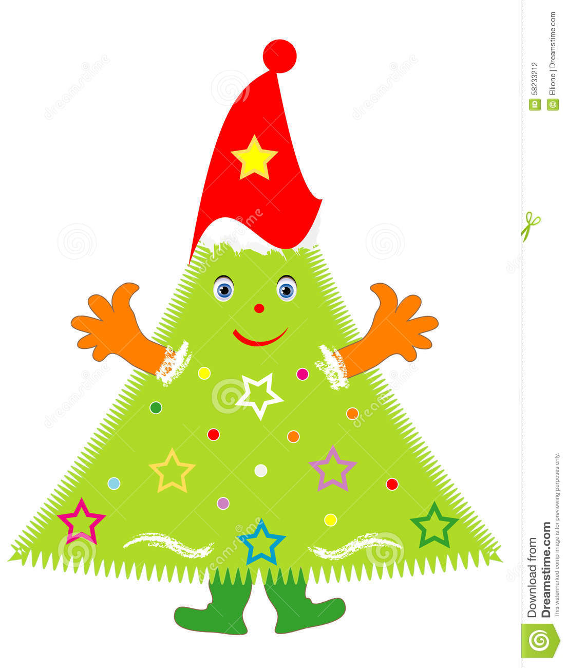 Jolly Christmas Tree stock vector. Illustration of colored - 58233212