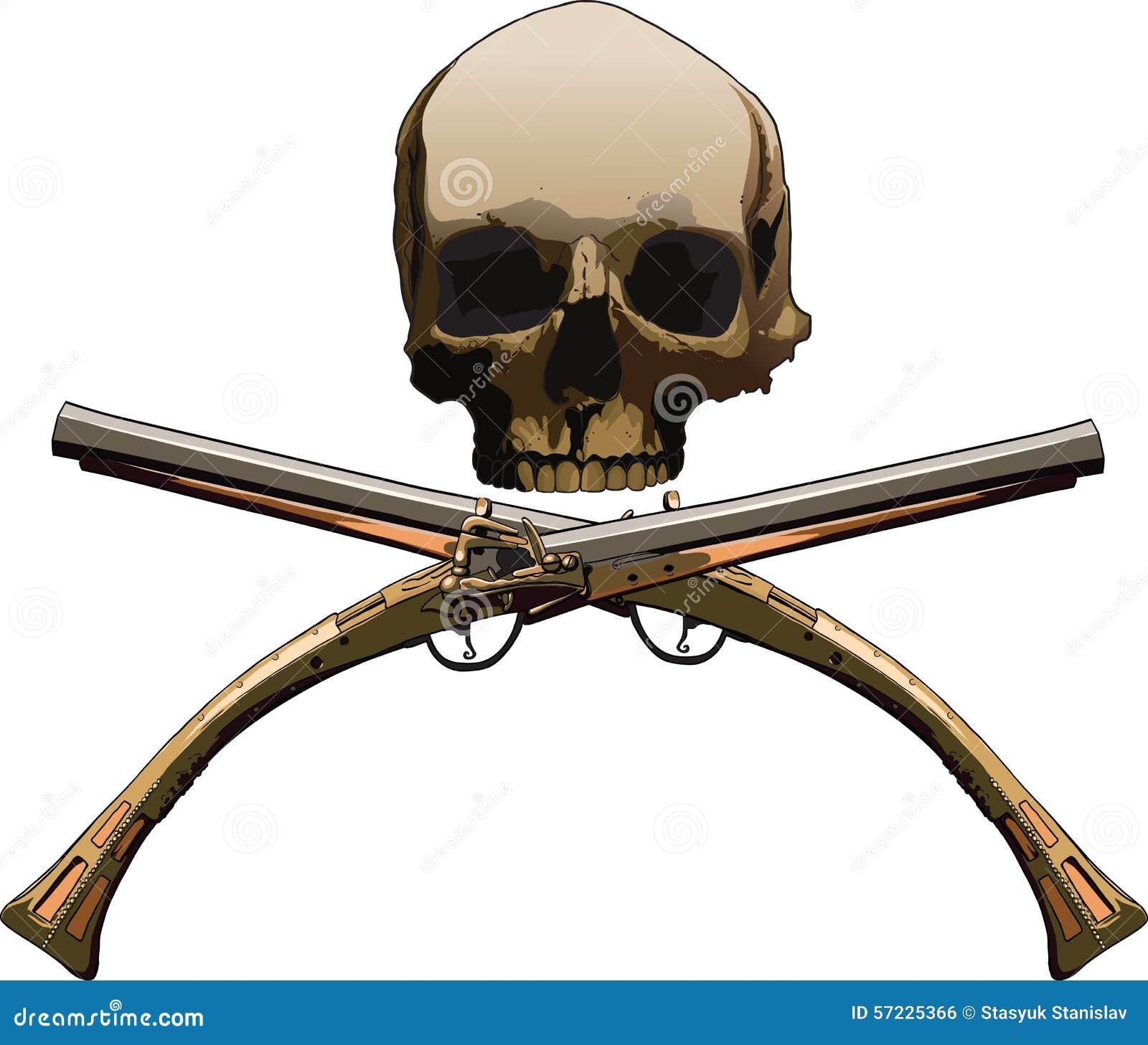 Jolly Roger mit Pistolen