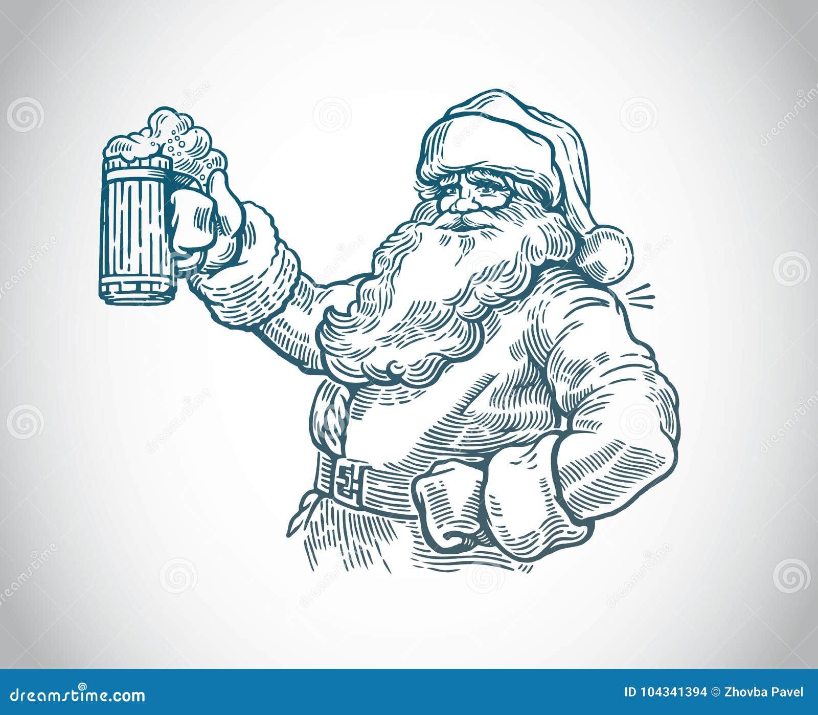 Jolly Santa Claus com cerveja