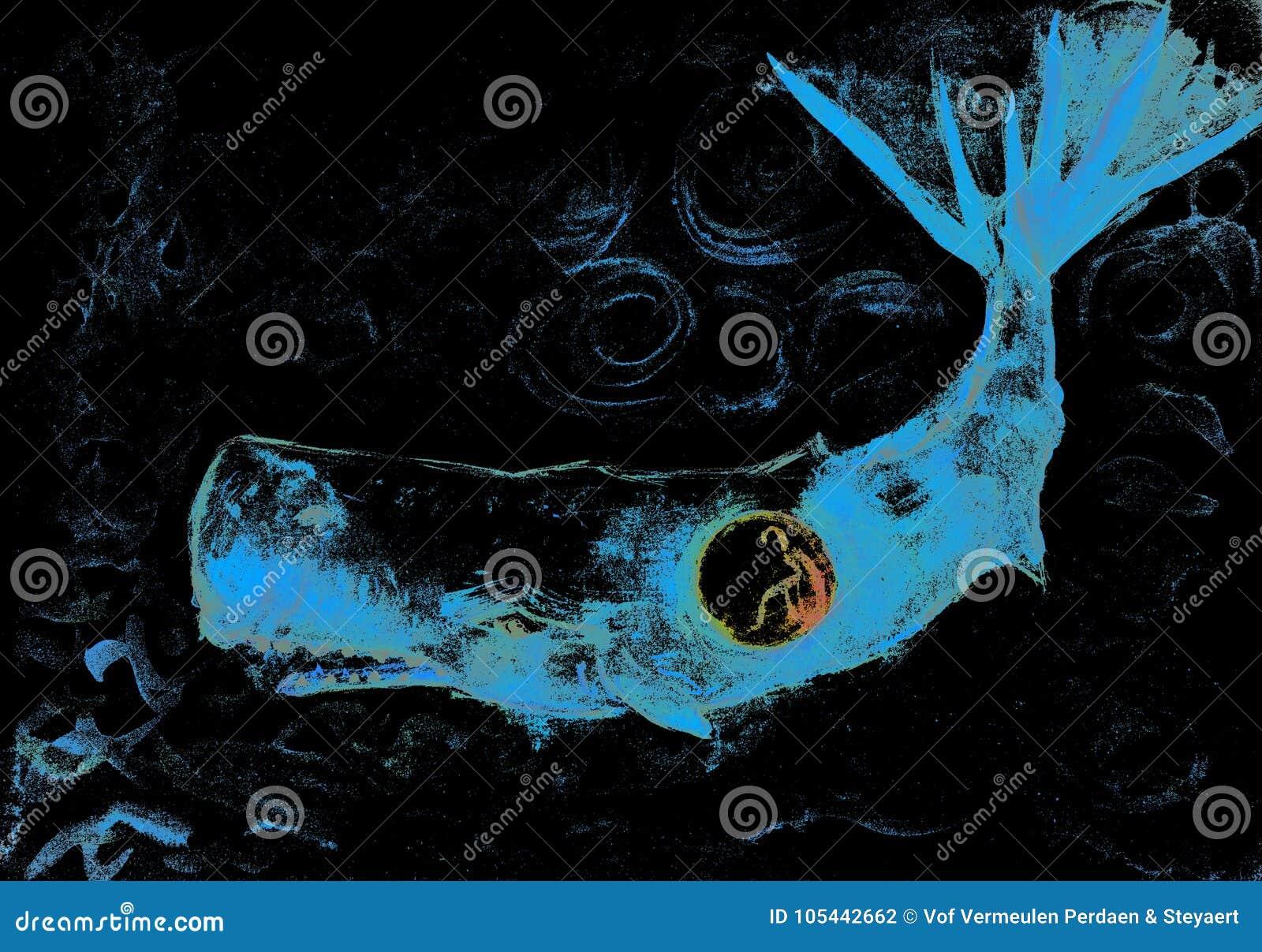 Jonah i jaskrawy bleu wieloryb w kędzierzawej zmrok wodzie