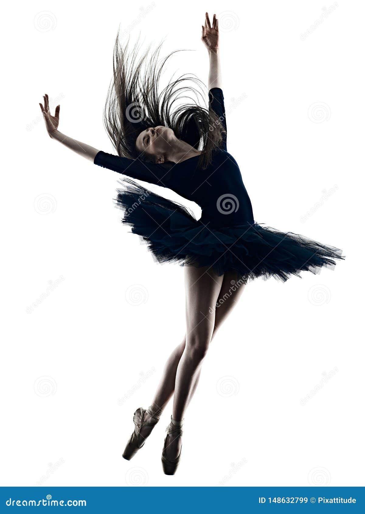 Jong de balletdanser dansend geïsoleerd wit van de vrouwenballerina silhouet als achtergrond