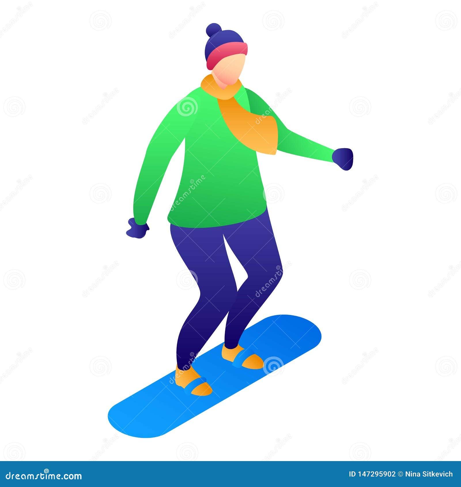 Jong geitje bij snowboardpictogram, isometrische stijl