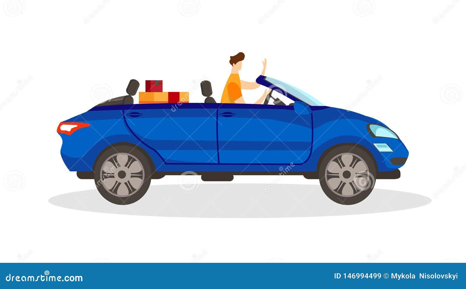Jong Mannelijk Karakter die Blauwe Convertibele Auto drijven