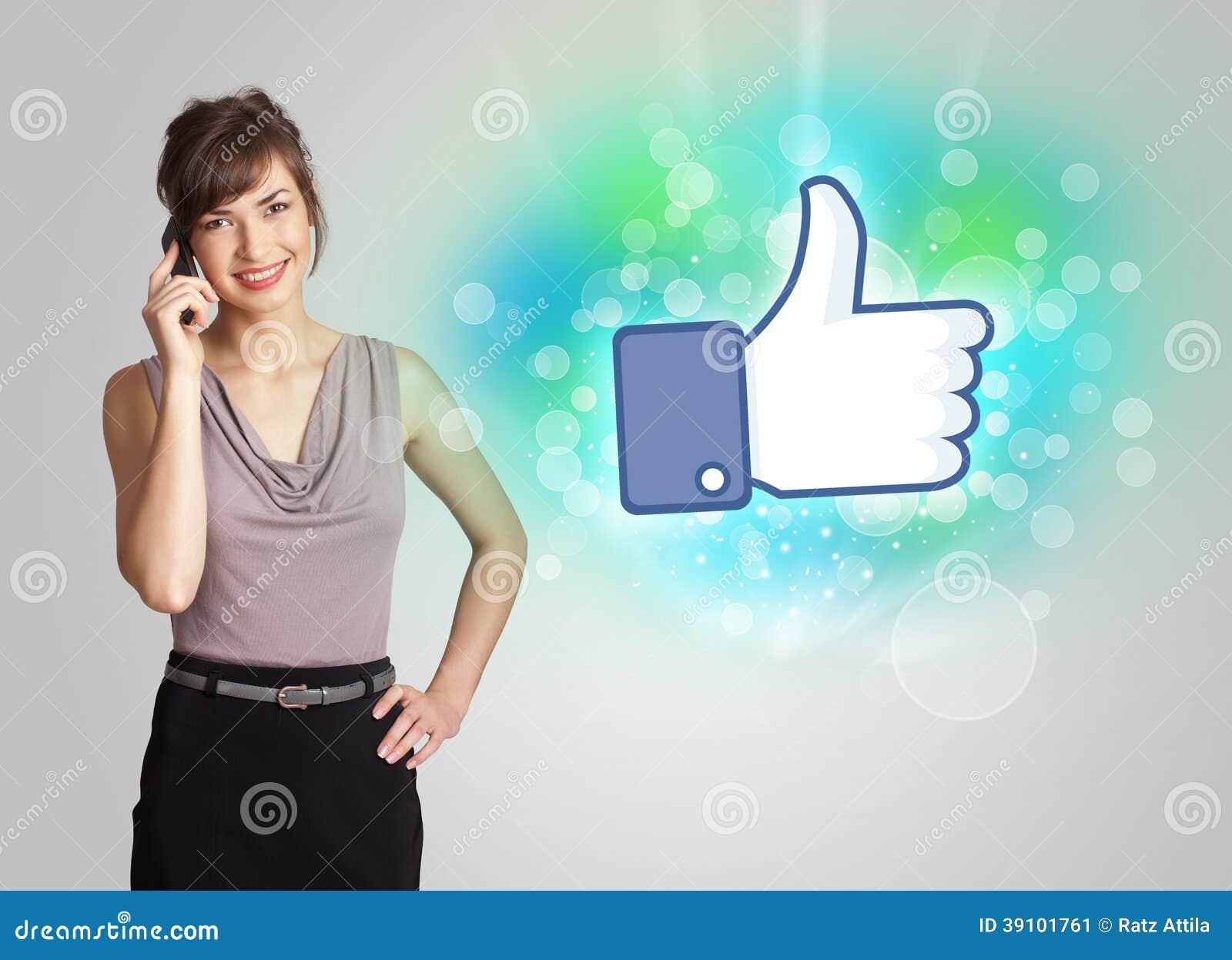 Jong meisje met gelijkaardige sociale media illustratie