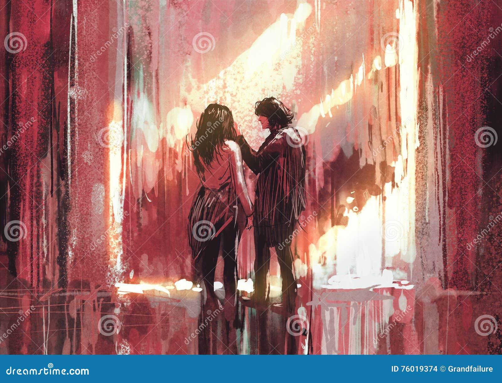 Jong paar in liefde openlucht, illustratie