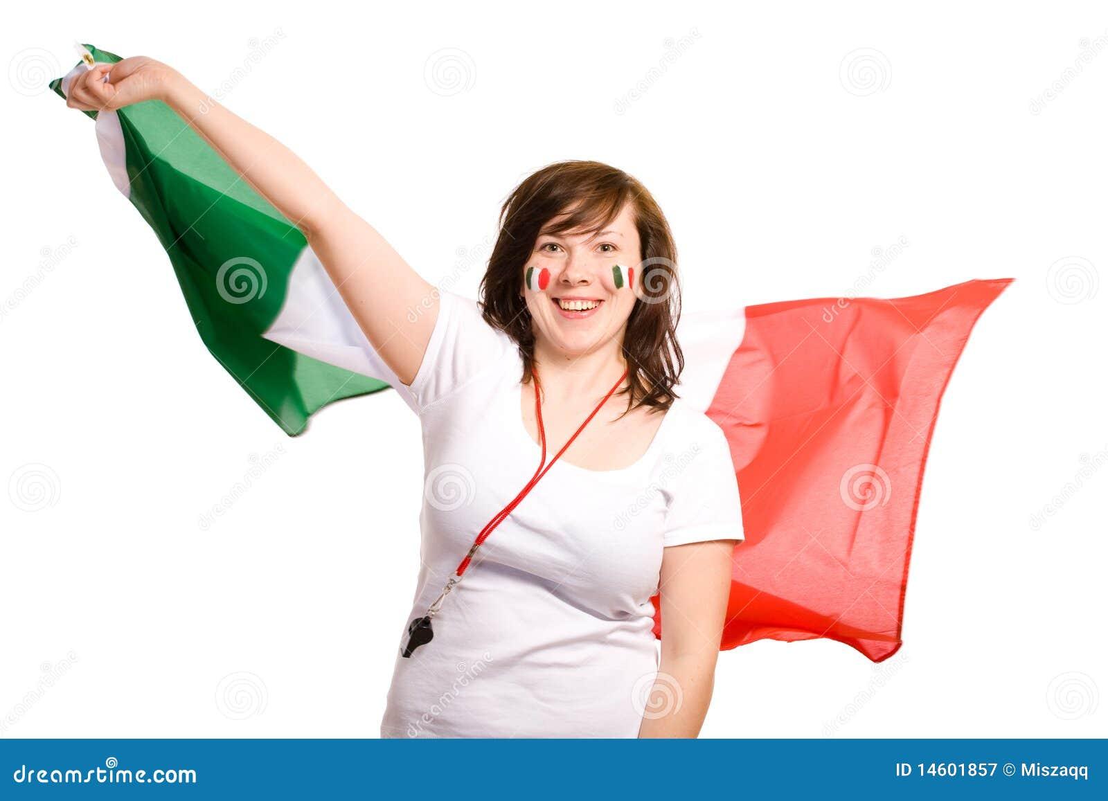 Jong wijfje met Italiaanse vlag, geïsoleerd, cheer,