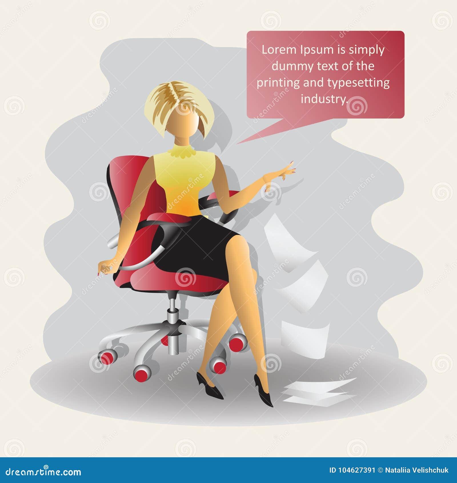 Download Jonge Bedrijfsvrouw, Die In Het Bureau Werken Vector Illustratie - Illustratie bestaande uit gelukkig, illustratie: 104627391
